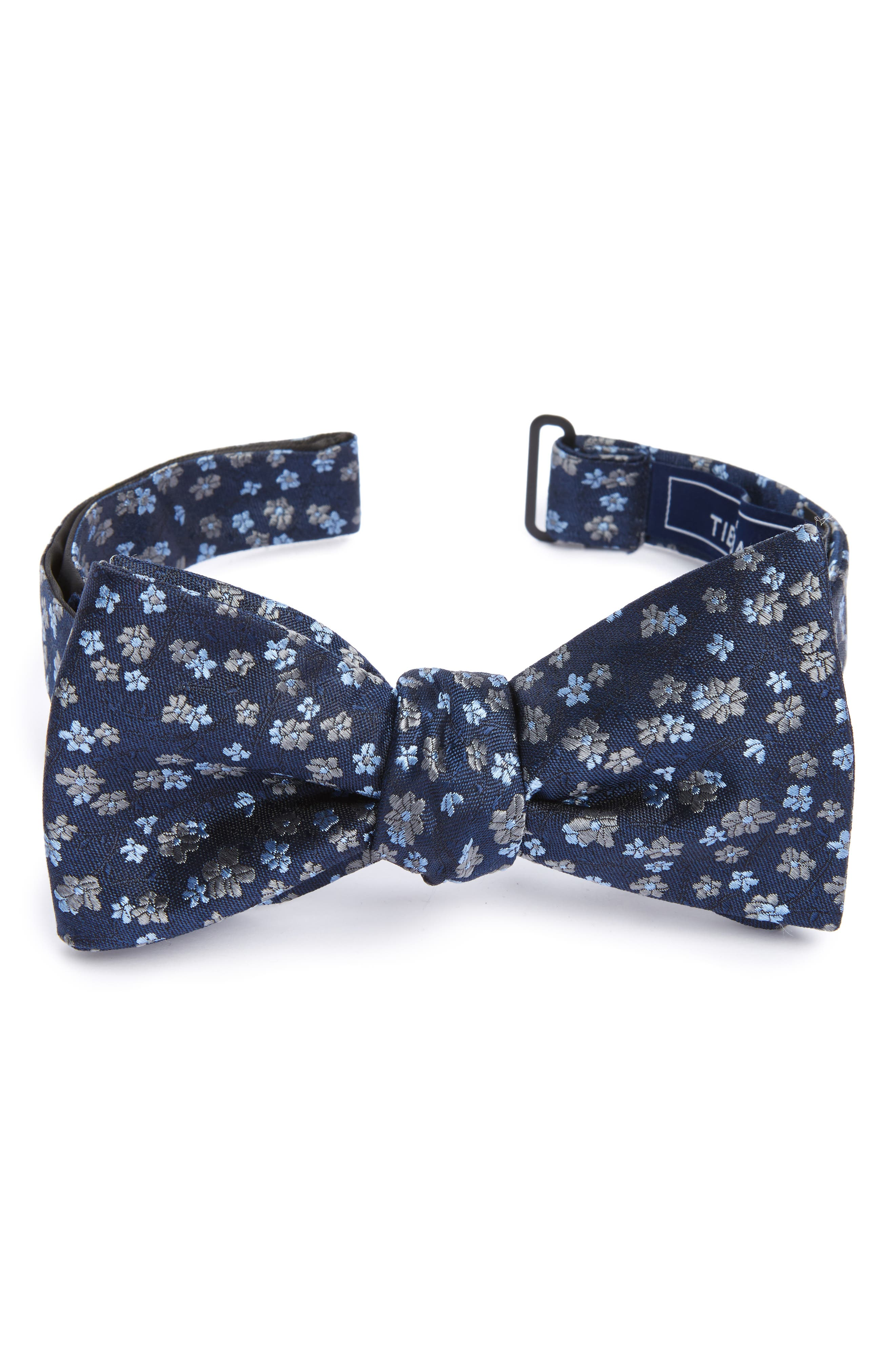 Freefall Floral Silk Bow Tie,                         Main,                         color, Navy