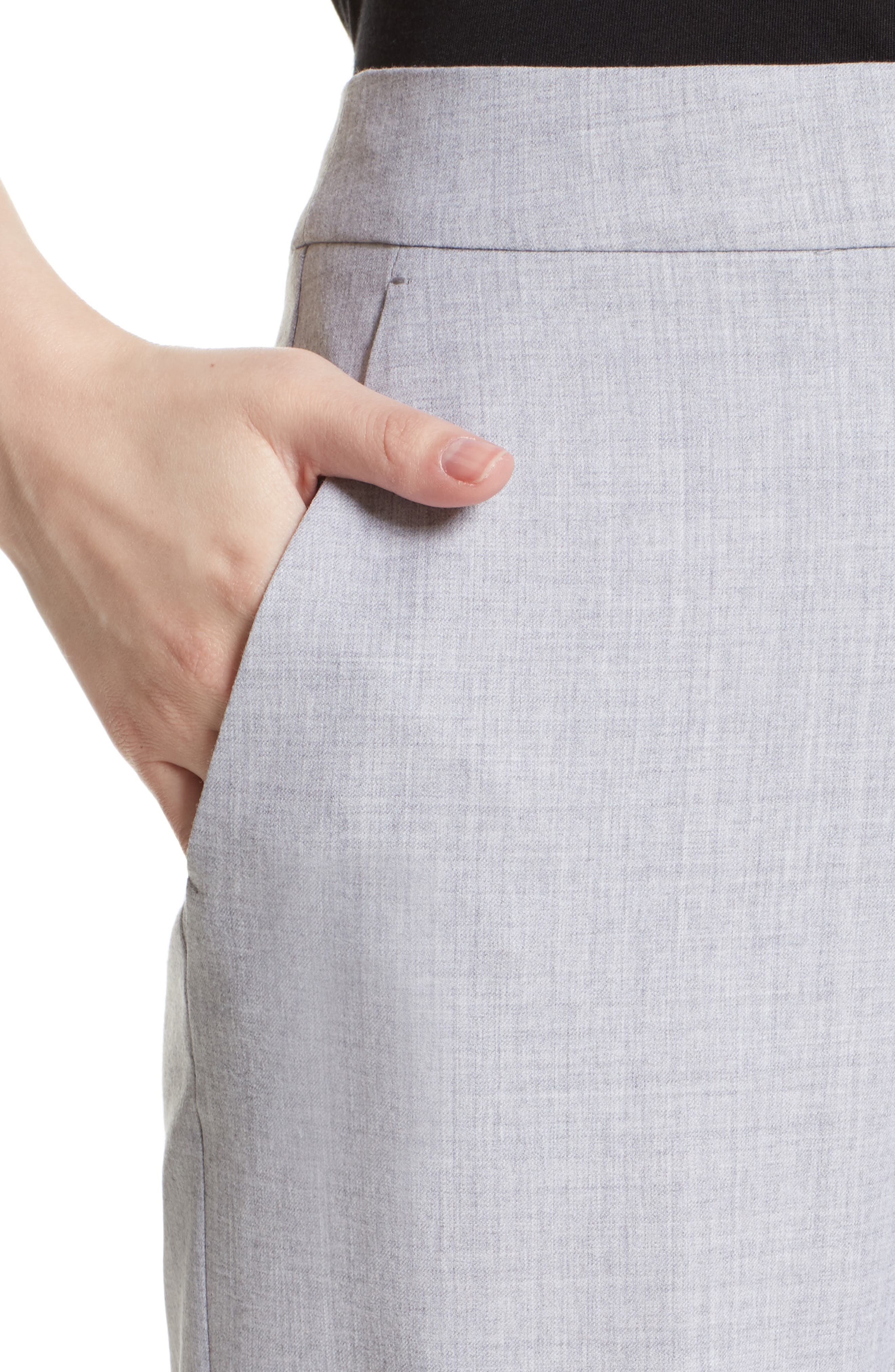 Alessia Stretch Wool Pants,                             Alternate thumbnail 5, color,                             Light Grey