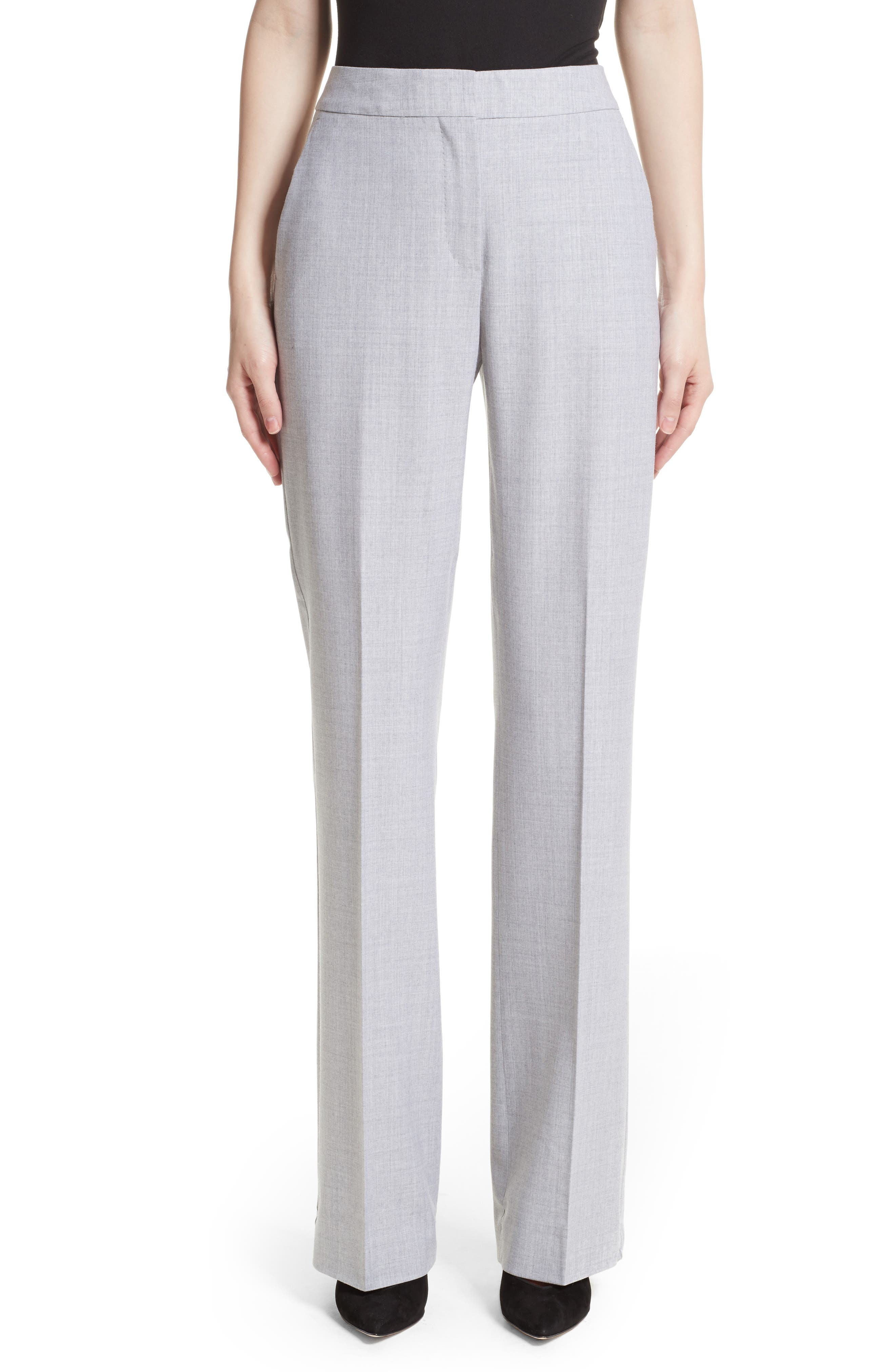 Alessia Stretch Wool Pants,                             Main thumbnail 1, color,                             Light Grey
