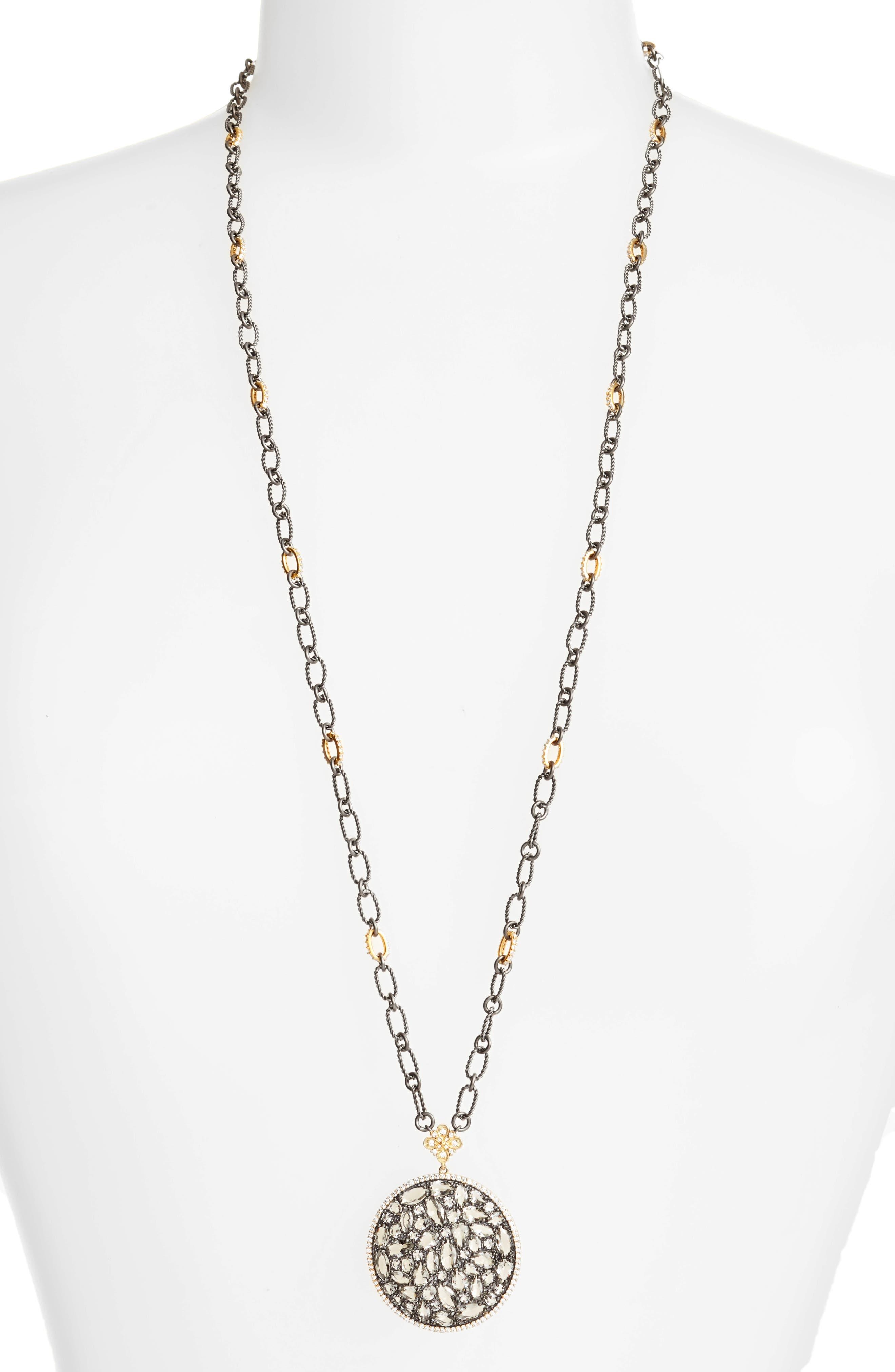 Pebble Pendant Necklace,                         Main,                         color, Gold/ Black Rhodium