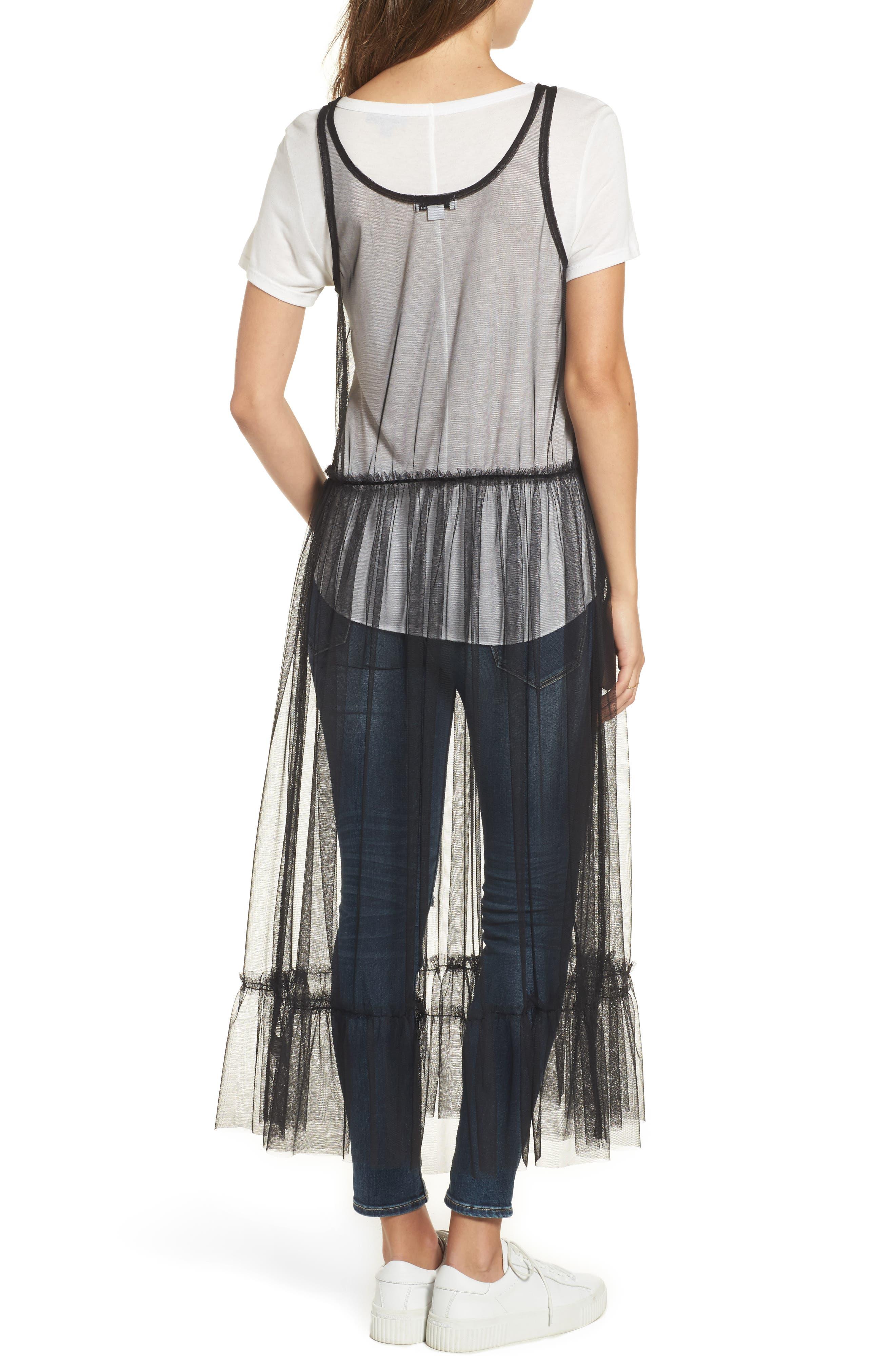 Tulle Drop Waist Midi Dress,                             Alternate thumbnail 2, color,                             Black