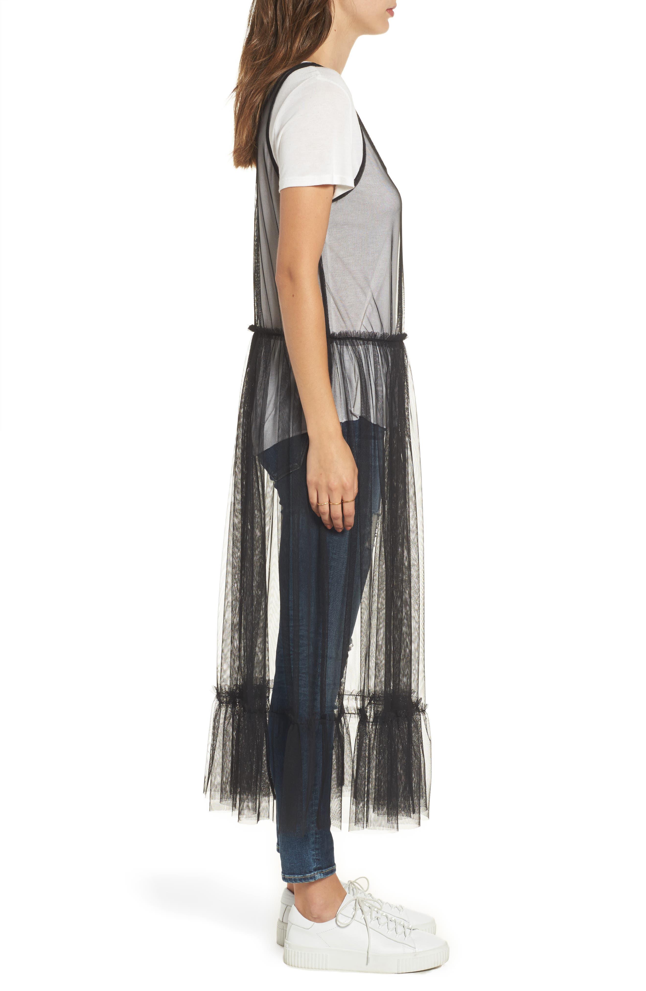 Tulle Drop Waist Midi Dress,                             Alternate thumbnail 3, color,                             Black