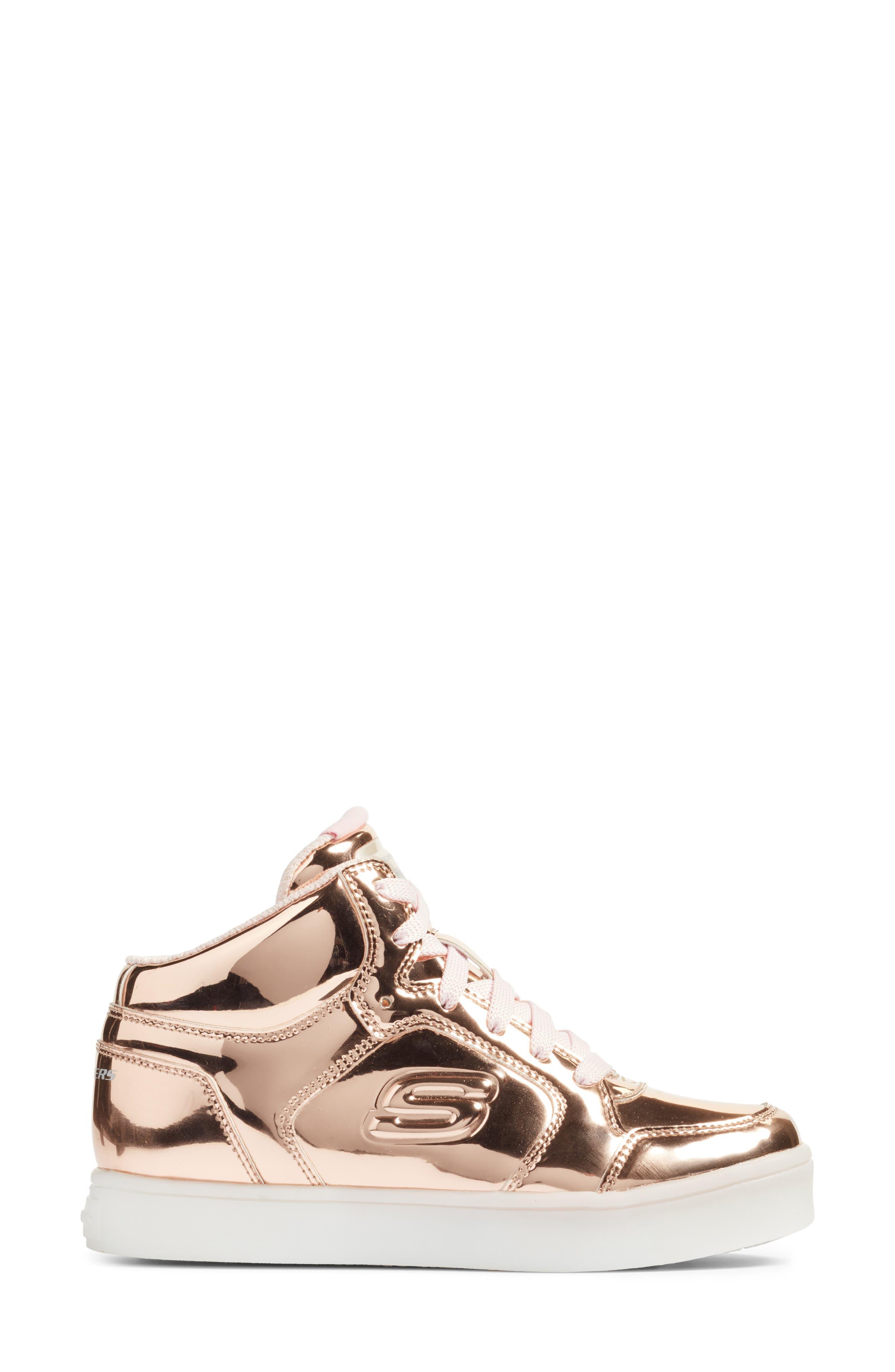 Energy Lights Metallic High Top Sneaker,                             Alternate thumbnail 3, color,                             Rose Gold