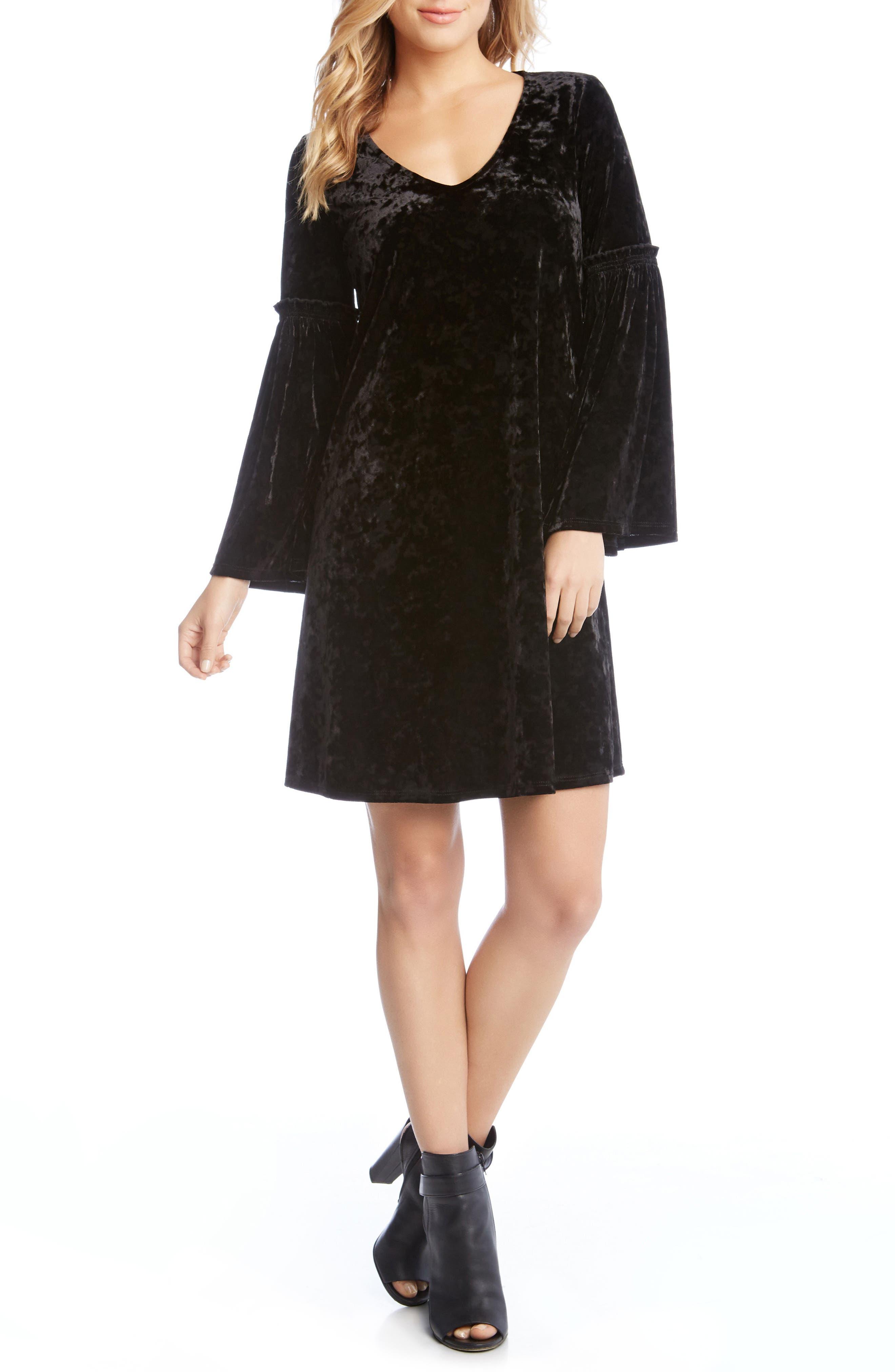 Bell Sleeve Velvet Shift Dress,                             Main thumbnail 1, color,                             Black