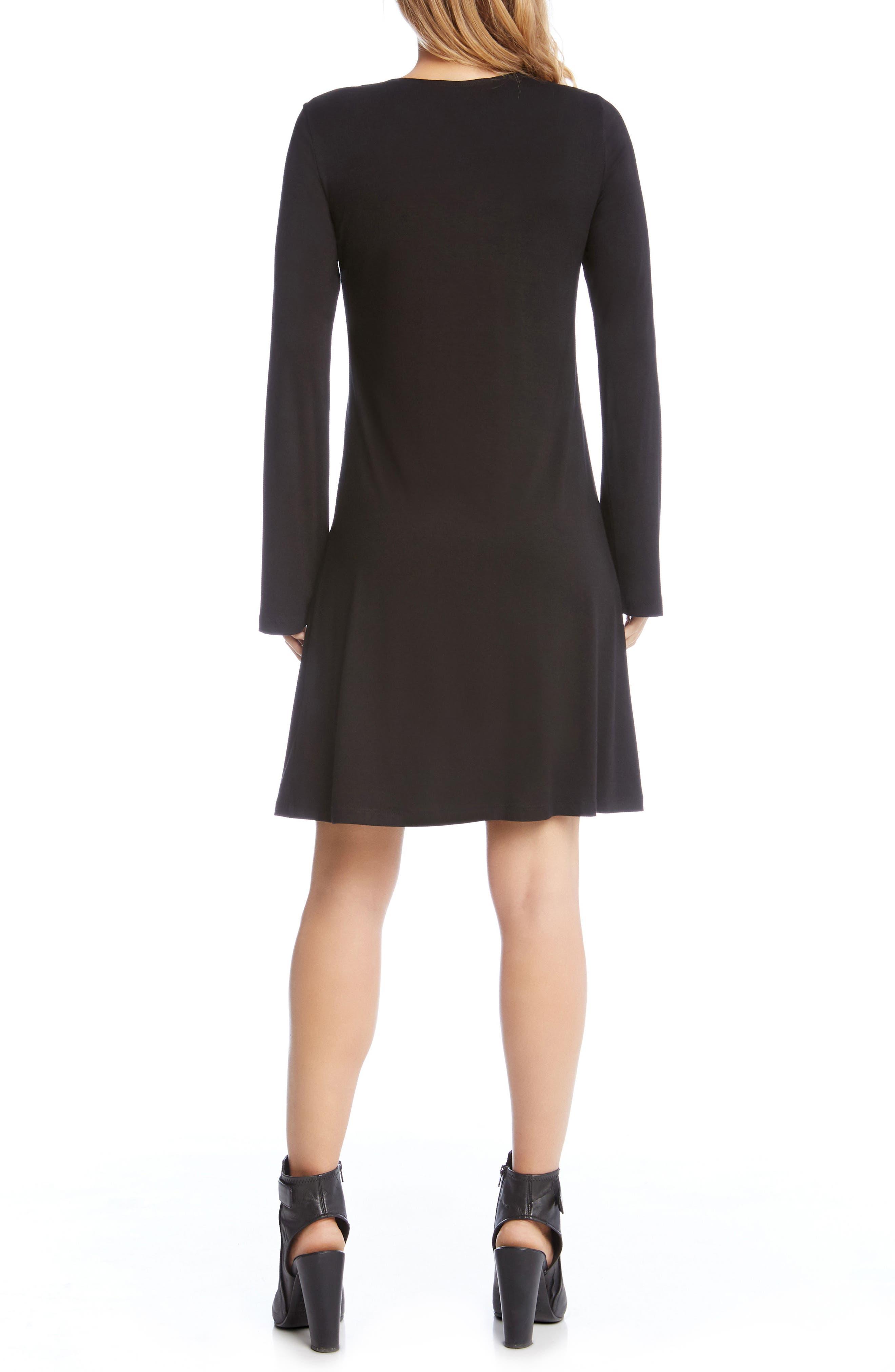 Embroidered Long Sleeve Dress,                             Alternate thumbnail 3, color,                             Black