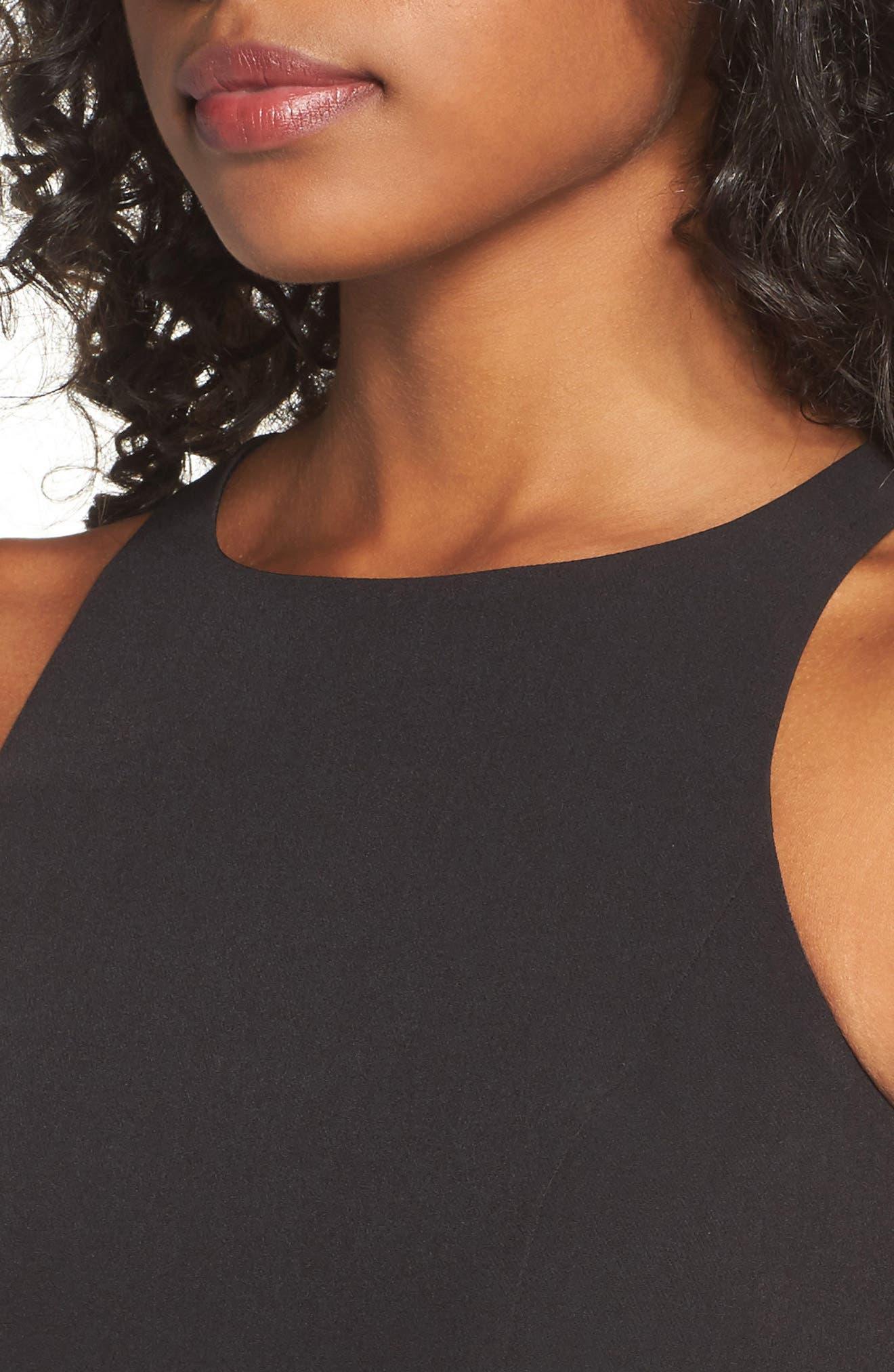 Stella Asymmetrical Ruffle Gown,                             Alternate thumbnail 4, color,                             Black