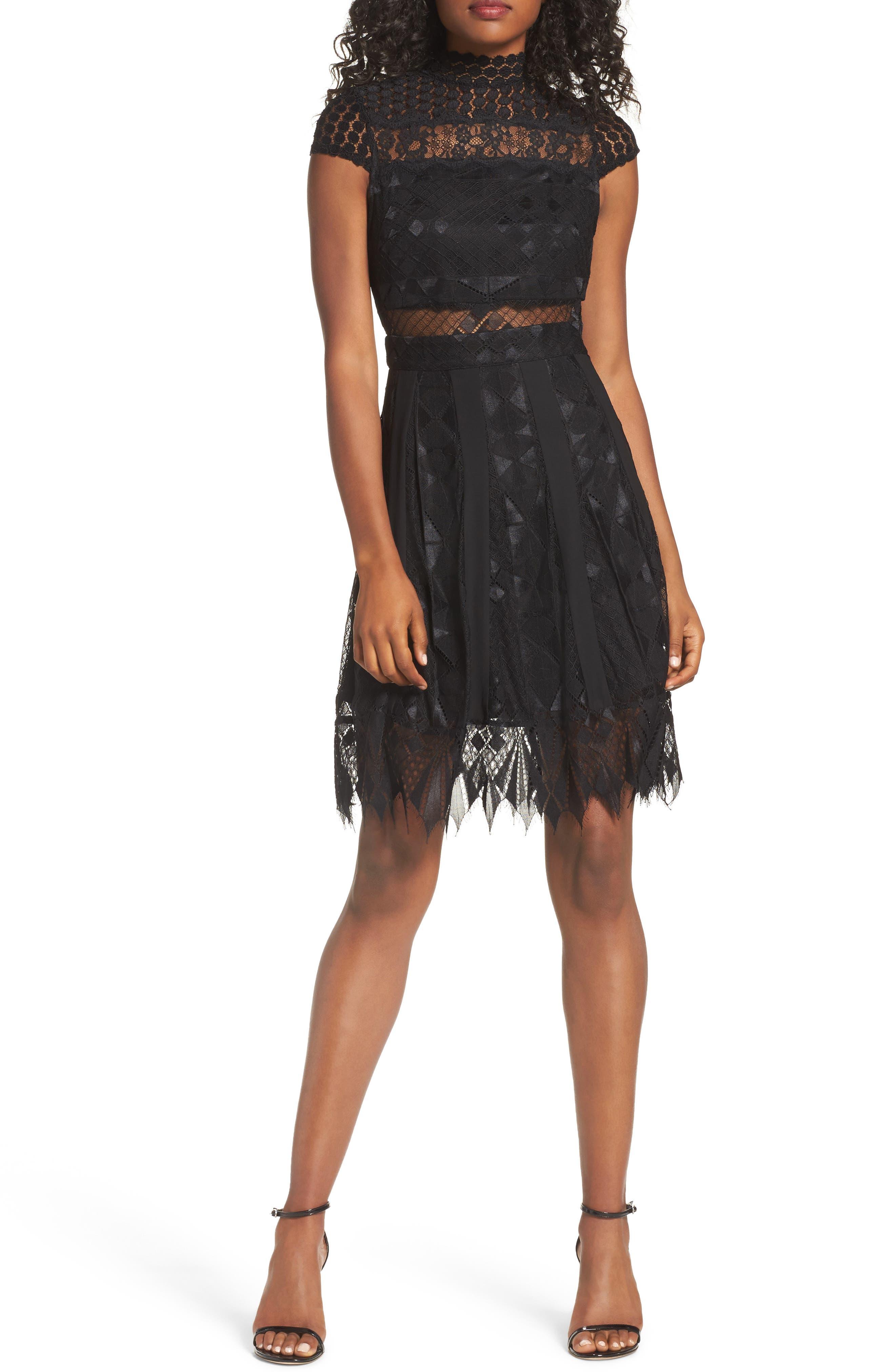 Bravo Zulu Lace Fit & Flare Dress,                         Main,                         color, Black Blush
