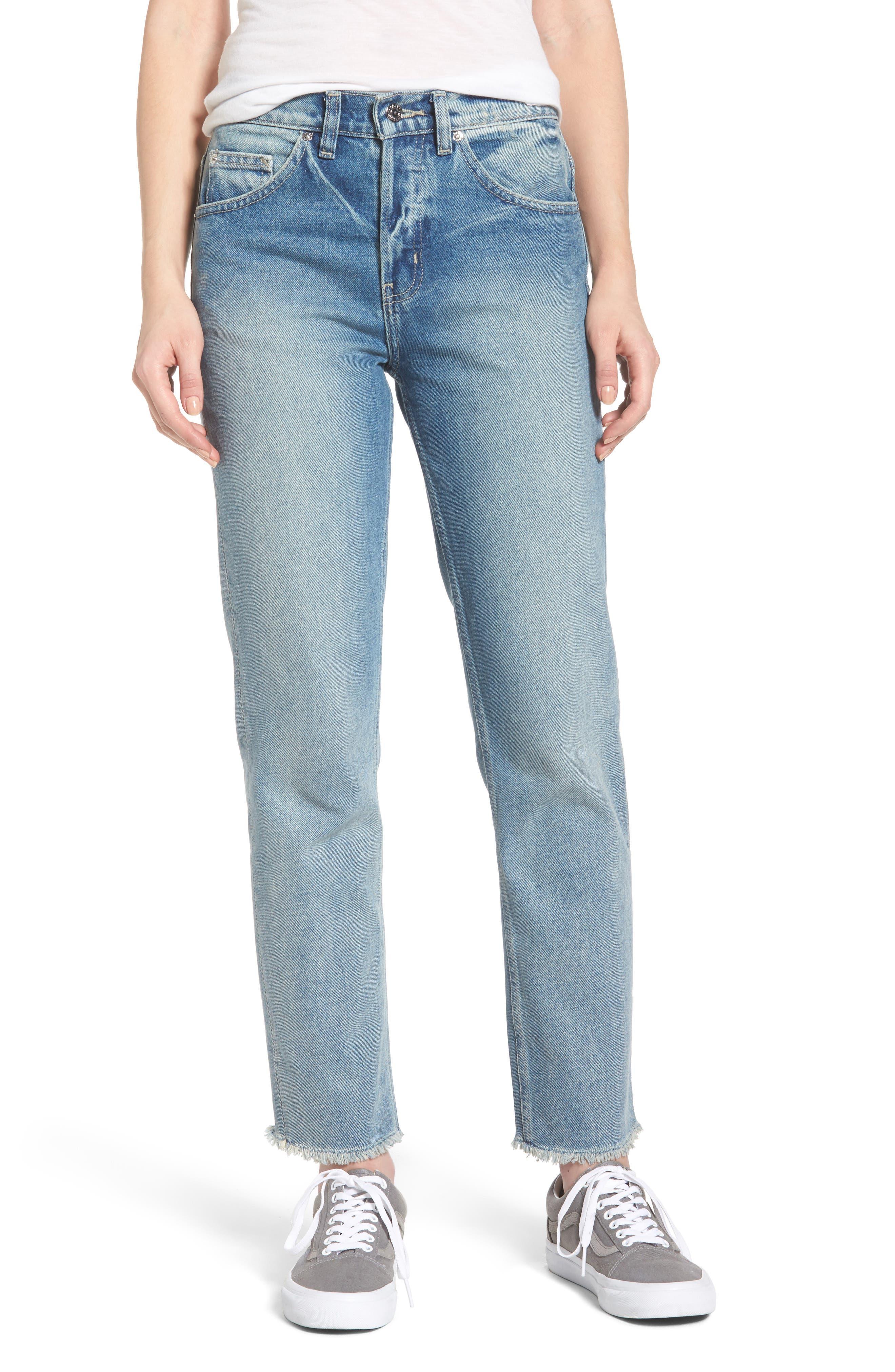 Sundays Straggler High Waist Jeans,                         Main,                         color, Bleached Indigo