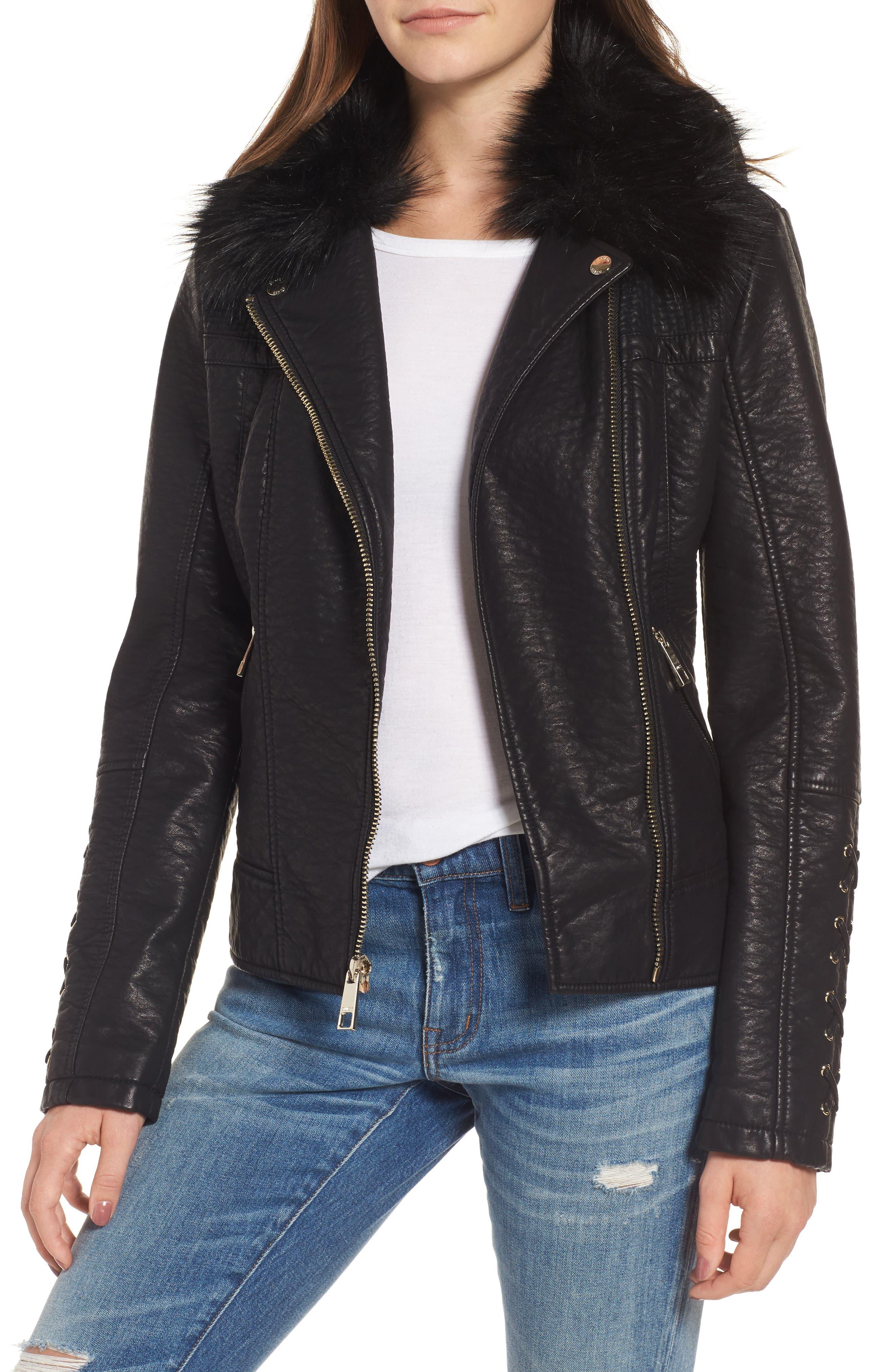 Faux Fur Collar Jacket,                         Main,                         color, Black