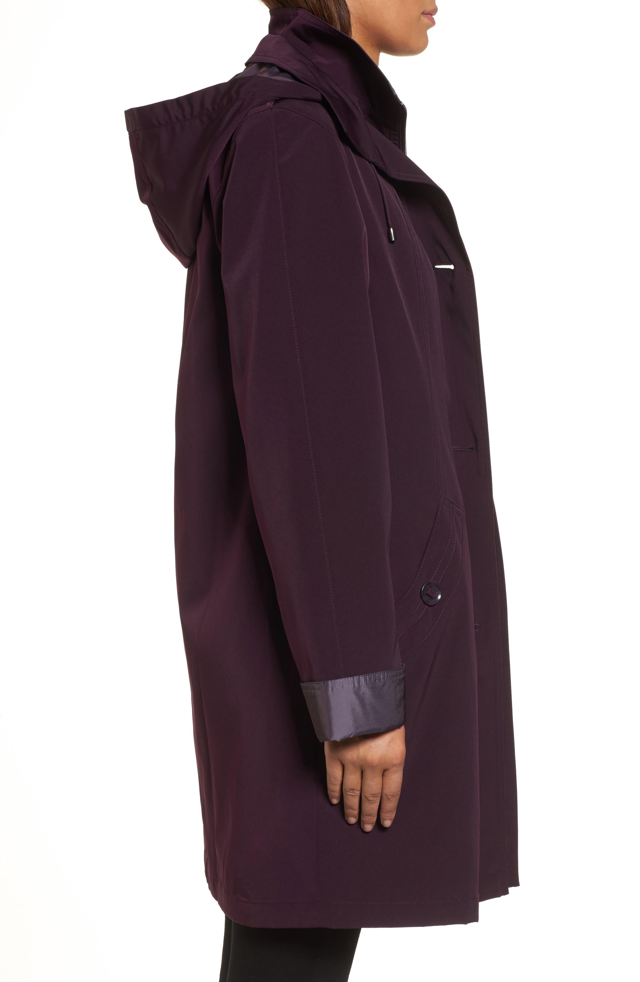 A-Line Raincoat with Detachable Hood & Liner,                             Alternate thumbnail 3, color,                             Blackberry