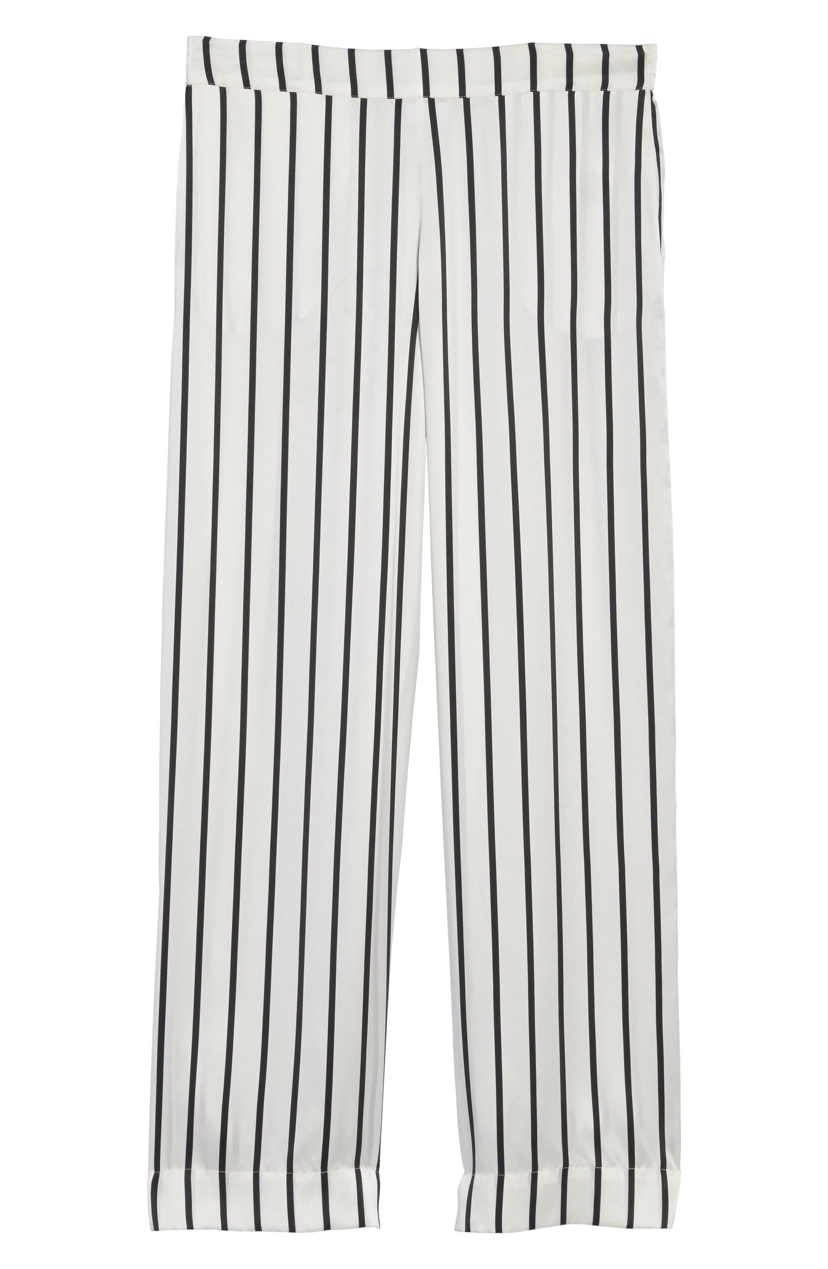 Stripe Silk Pajama Pants,                             Alternate thumbnail 4, color,                             Jet Black Stripe