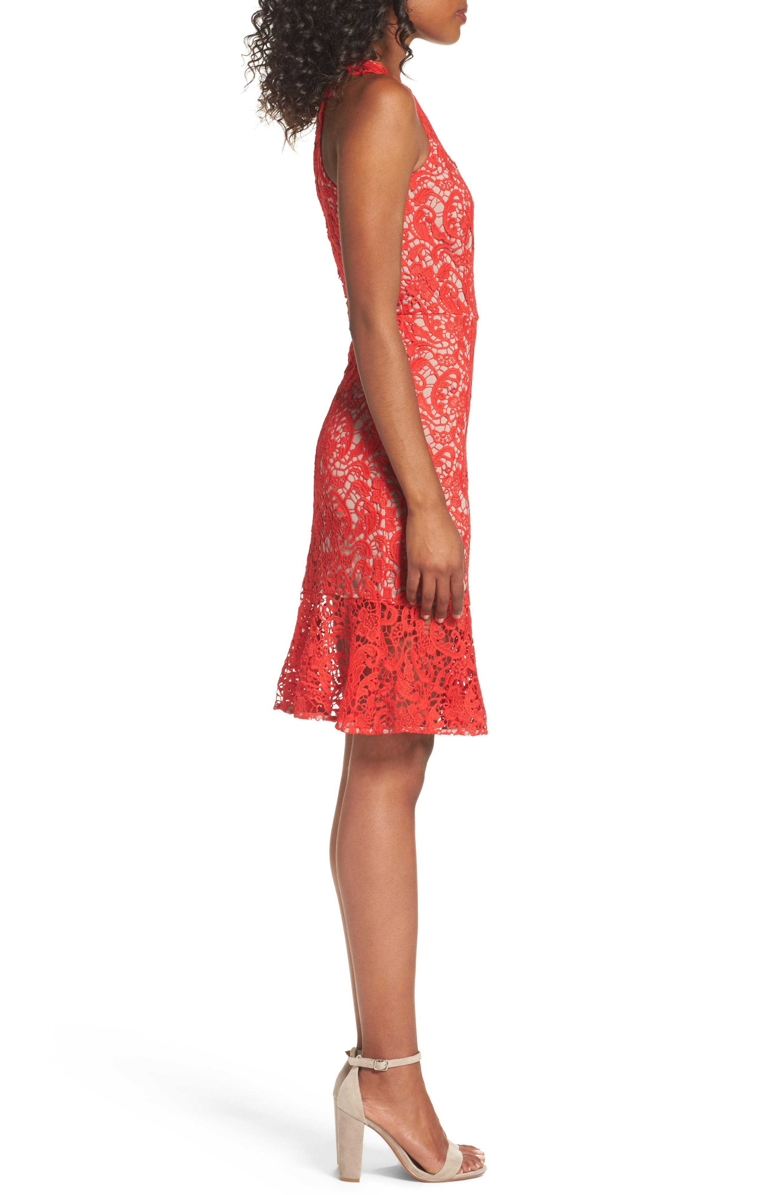 Lace Sheath Dress,                             Alternate thumbnail 3, color,                             Red Fiery