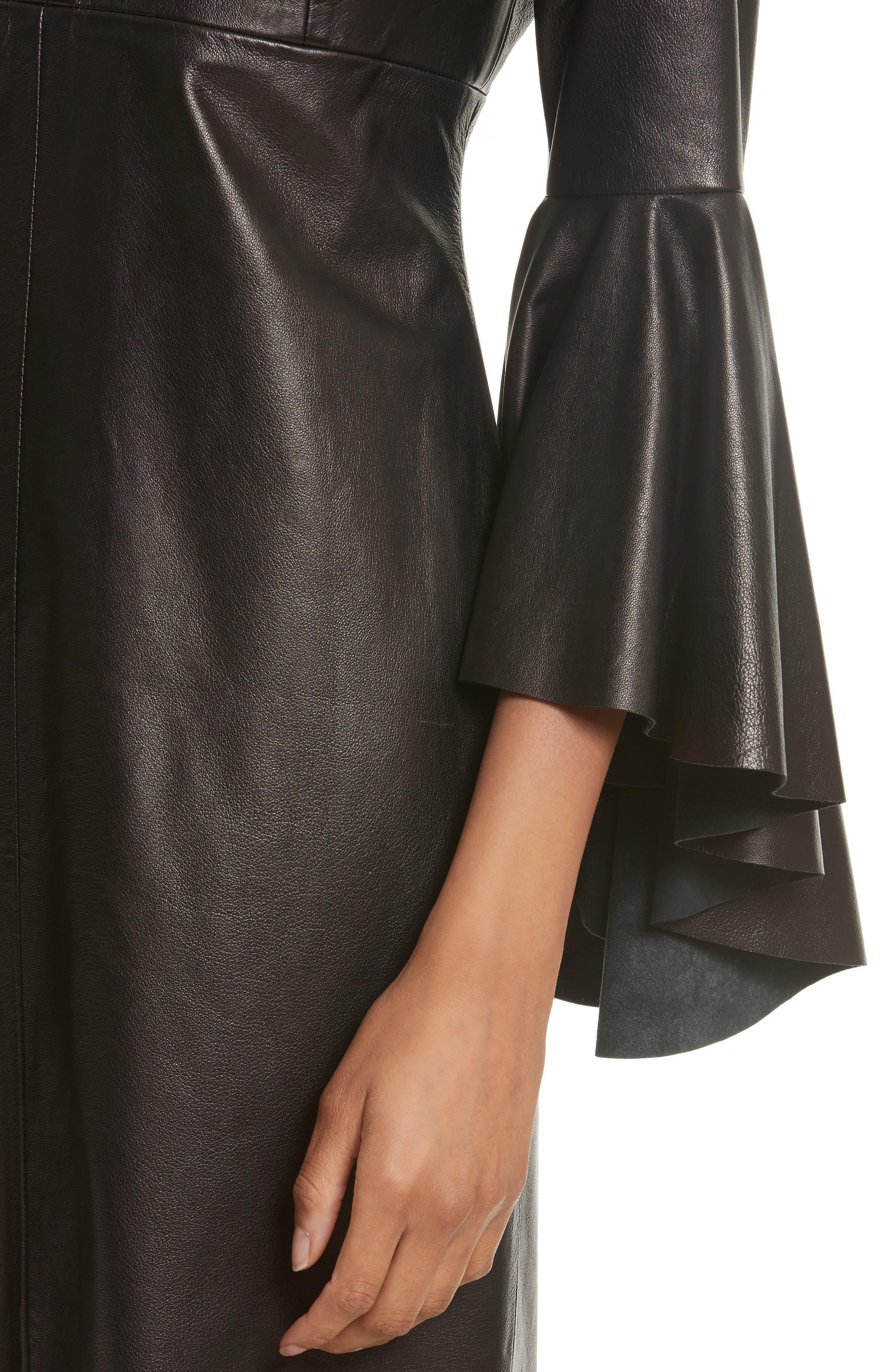 Bell Sleeve Leather Dress,                             Alternate thumbnail 4, color,                             Black