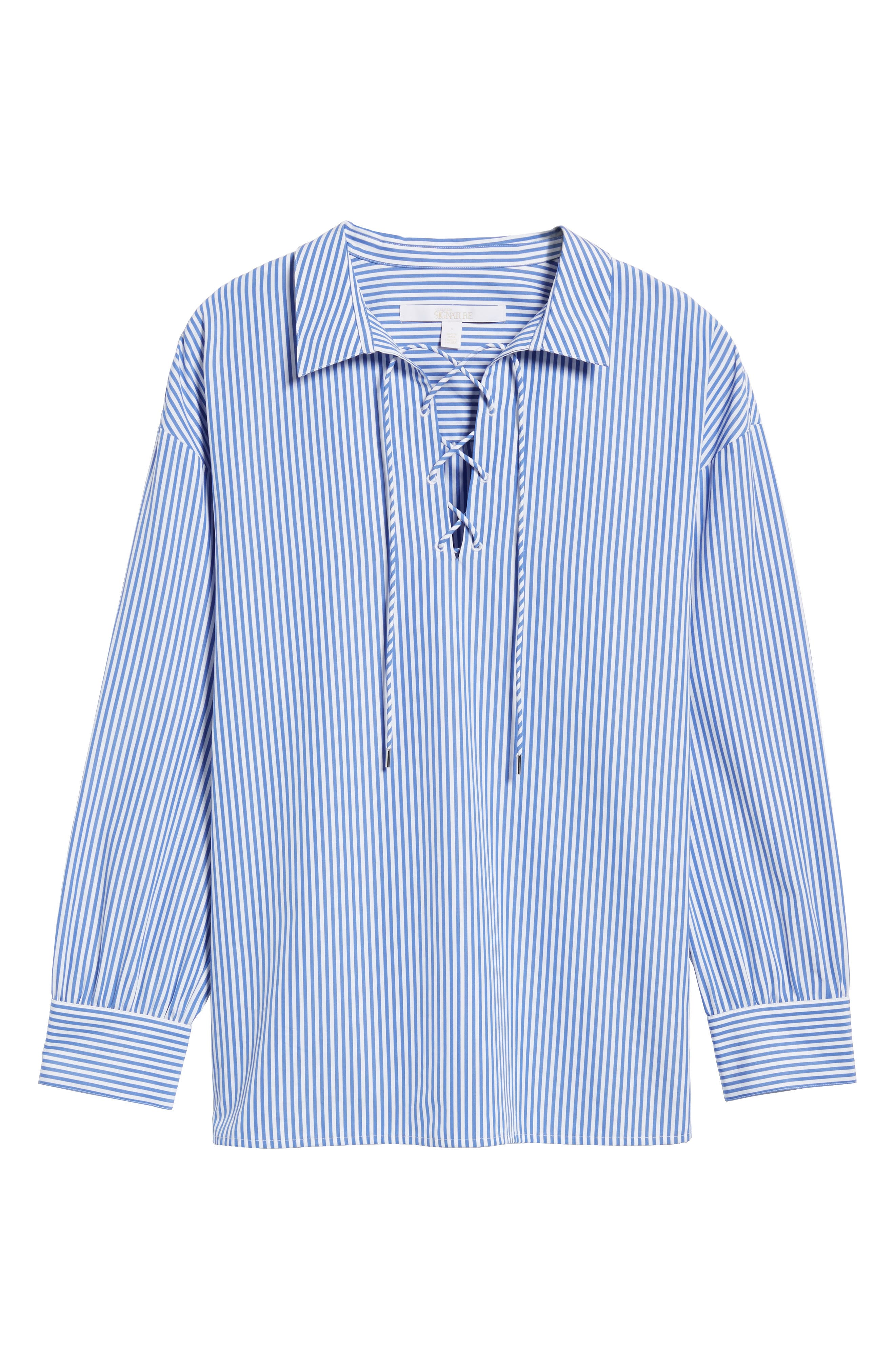 Lace-Up Stripe Shirt,                             Alternate thumbnail 7, color,                             Blue/ White Stripe