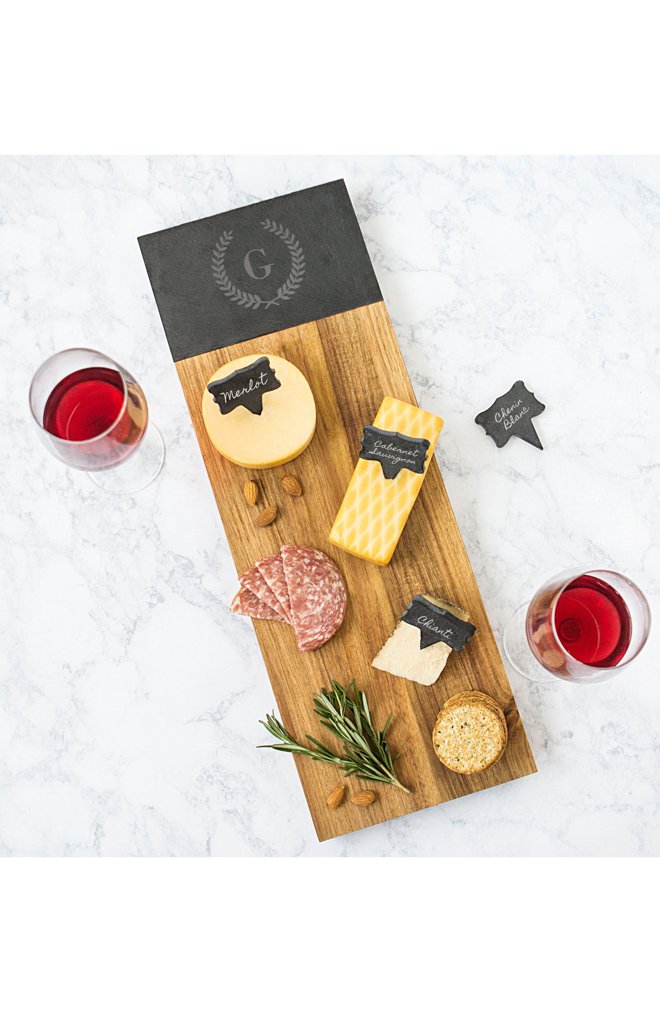 Monogram Acacia Wood Cheese Board,                             Alternate thumbnail 7, color,