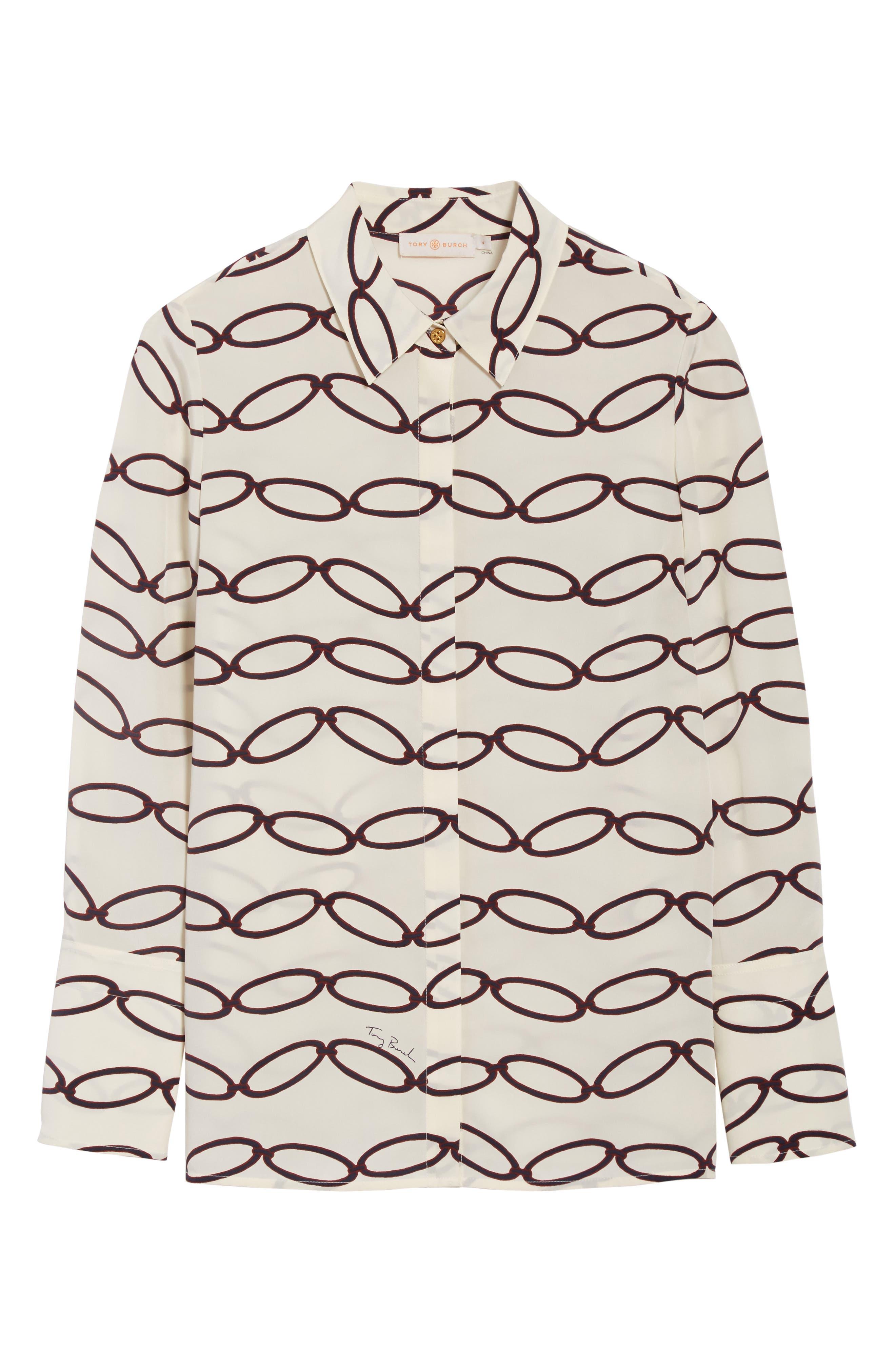 Erica Print Silk Shirt,                             Alternate thumbnail 6, color,                             Elliptical Link - Combo A