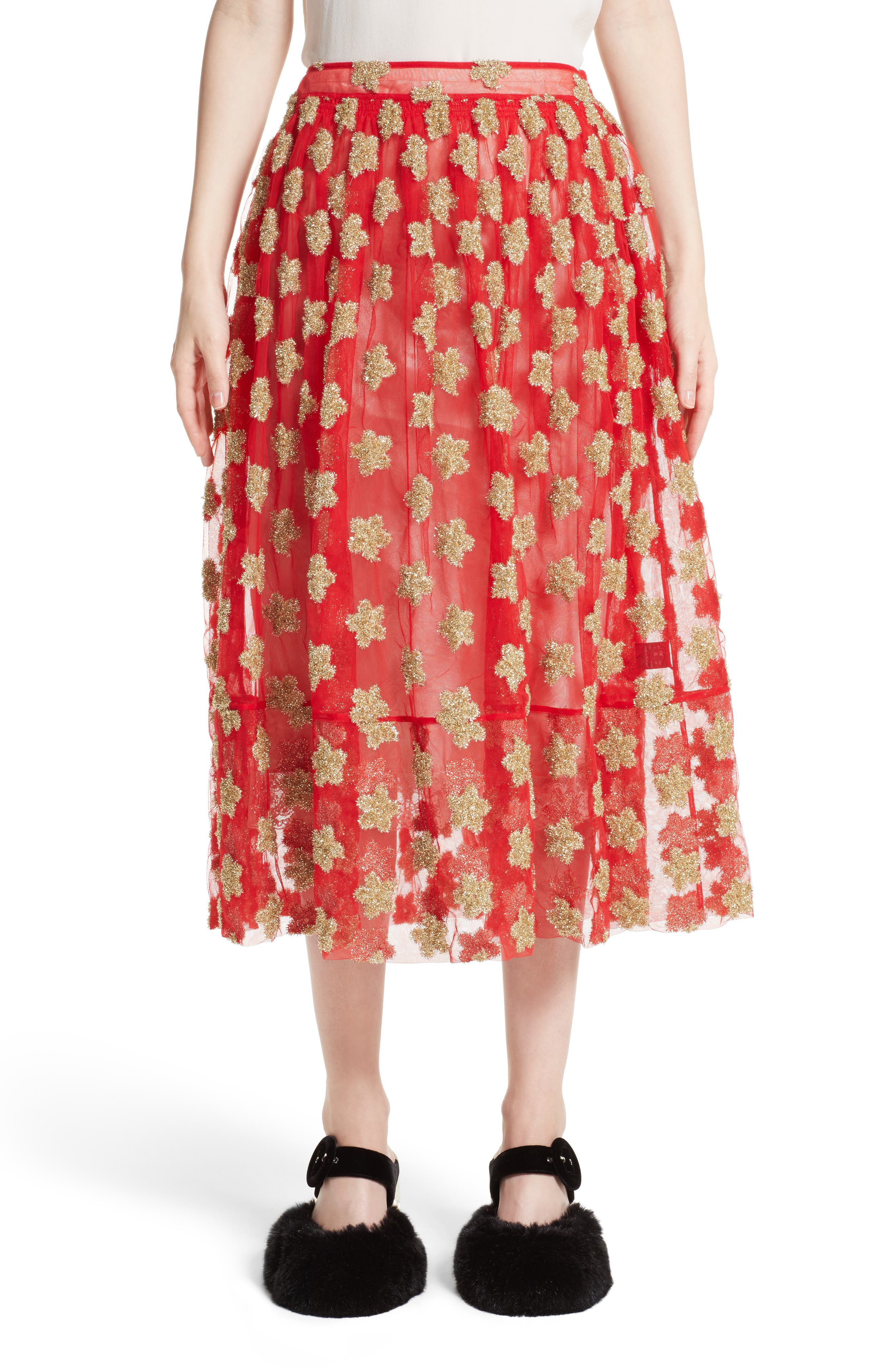 Simone Rocha Star Embroidered Tulle Skirt (Nordstrom Exclusive)