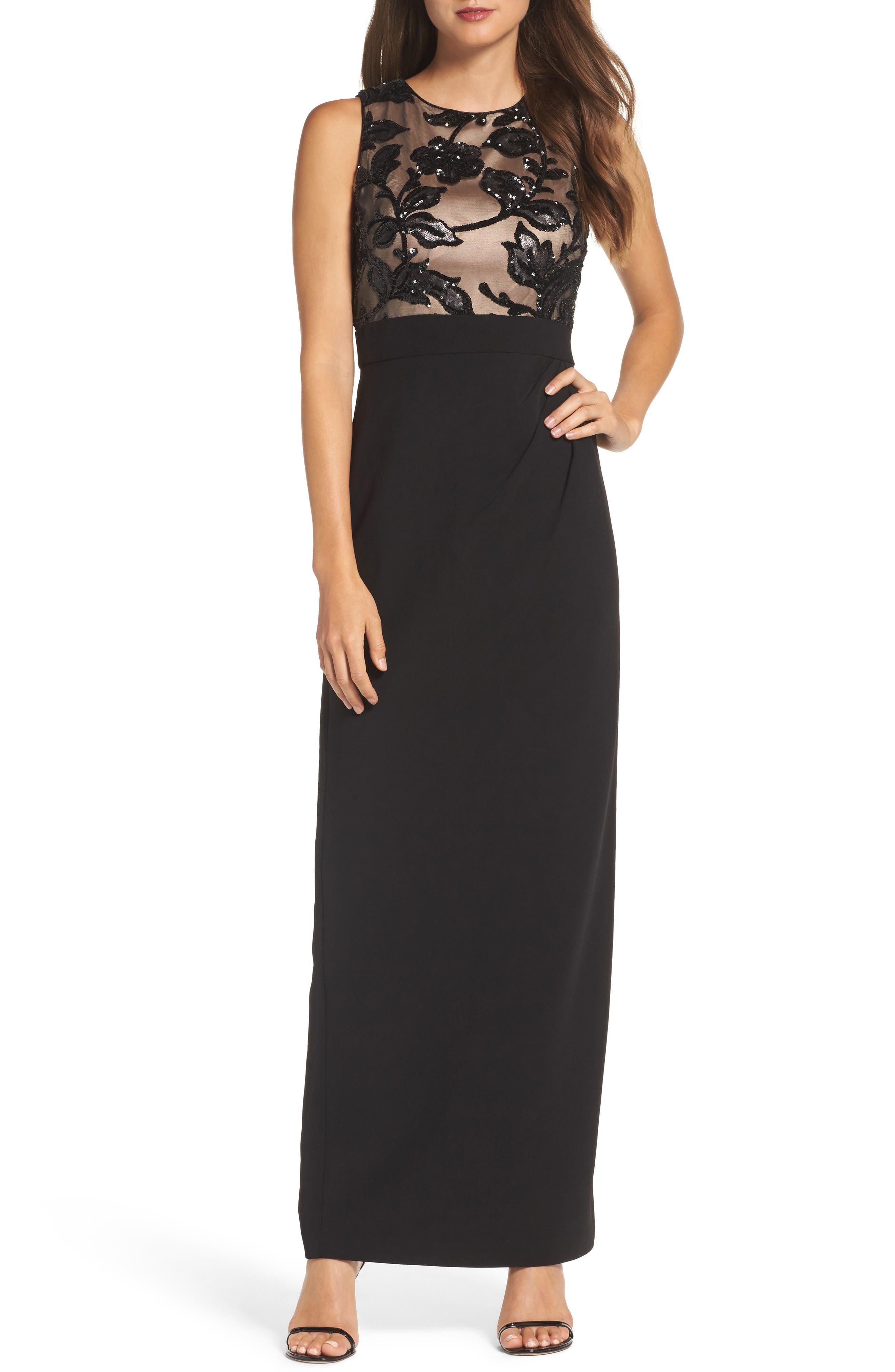 Sequin Crepe Column Gown,                         Main,                         color, Black