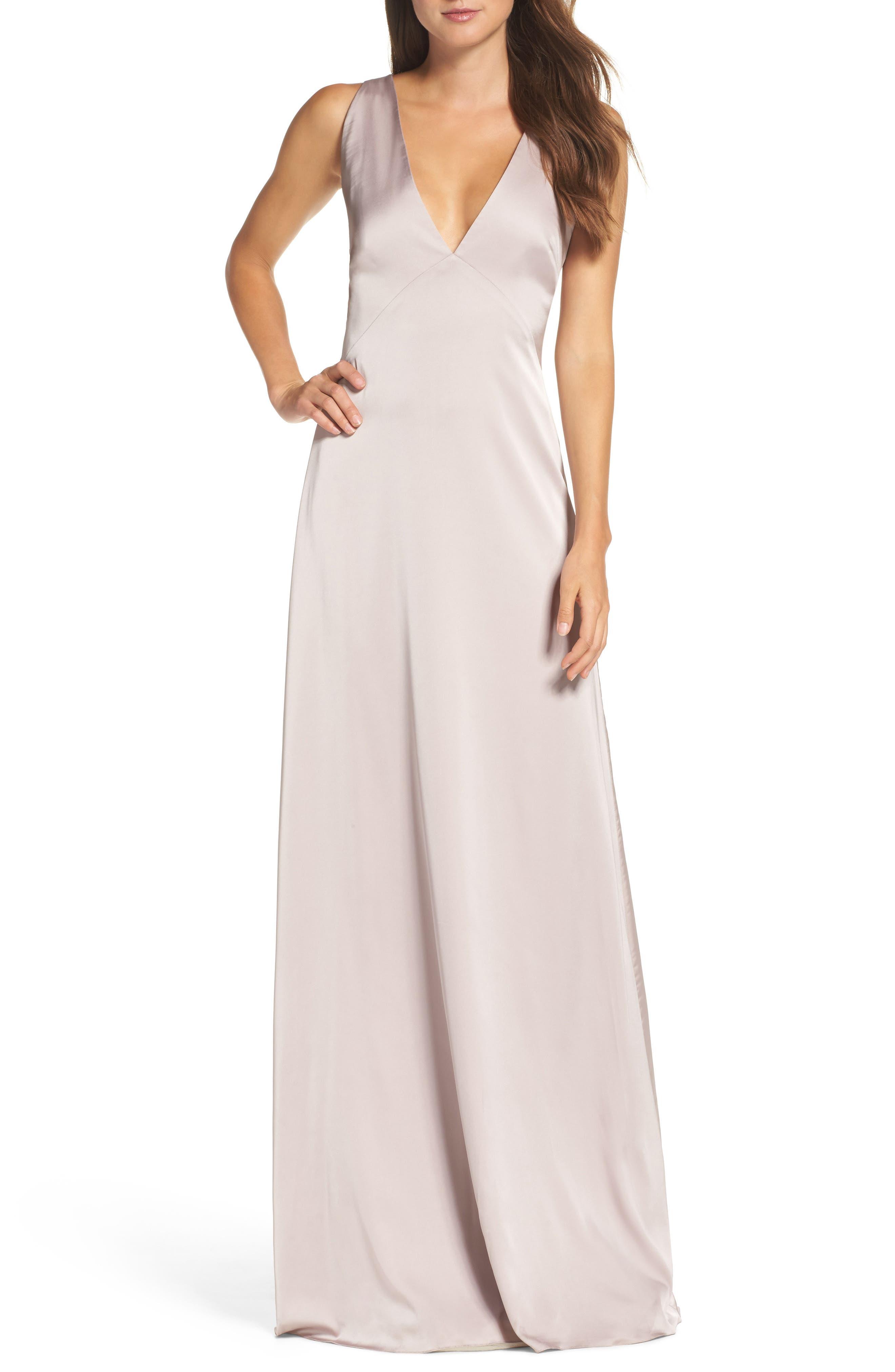 Main Image - Monique Lhuillier Bridesmaids Dasha Tie Back Sateen Gown