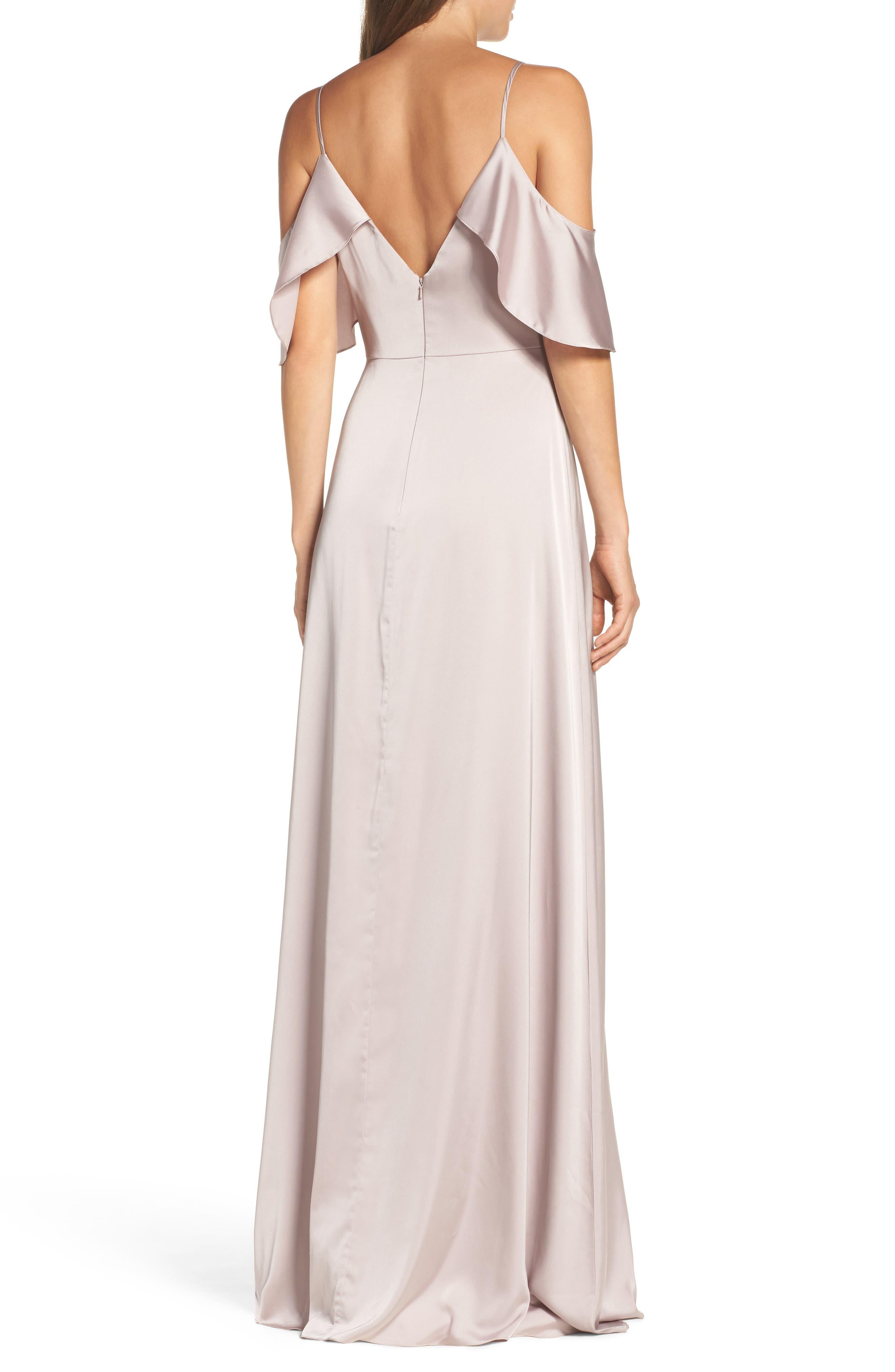 Alternate Image 3  - Monique Lhuillier Bridesmaids Isabel Sateen Cold Shoulder Gown