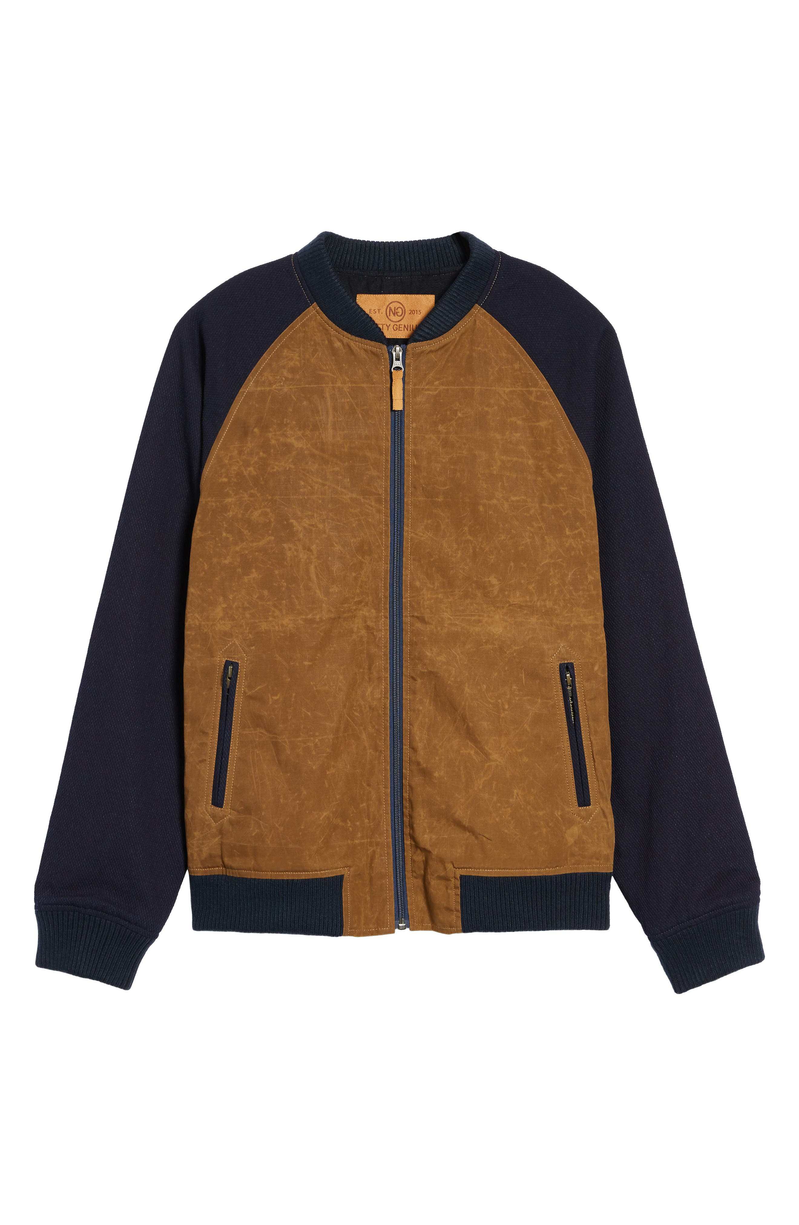 Colorblock Waxed Bomber Jacket,                             Alternate thumbnail 6, color,                             Brown