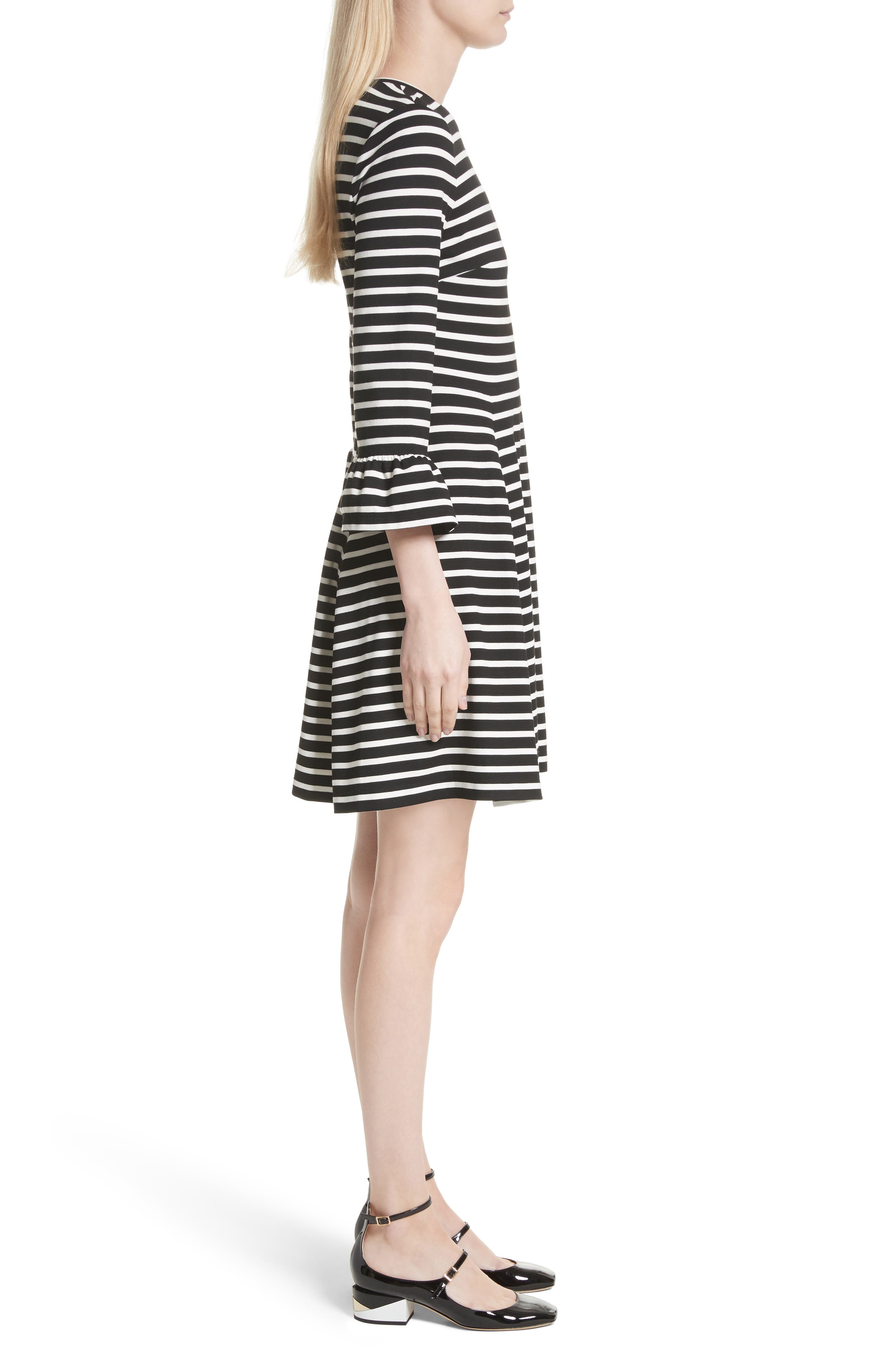 stripe fit-and-flare dress,                             Alternate thumbnail 3, color,                             Ivory