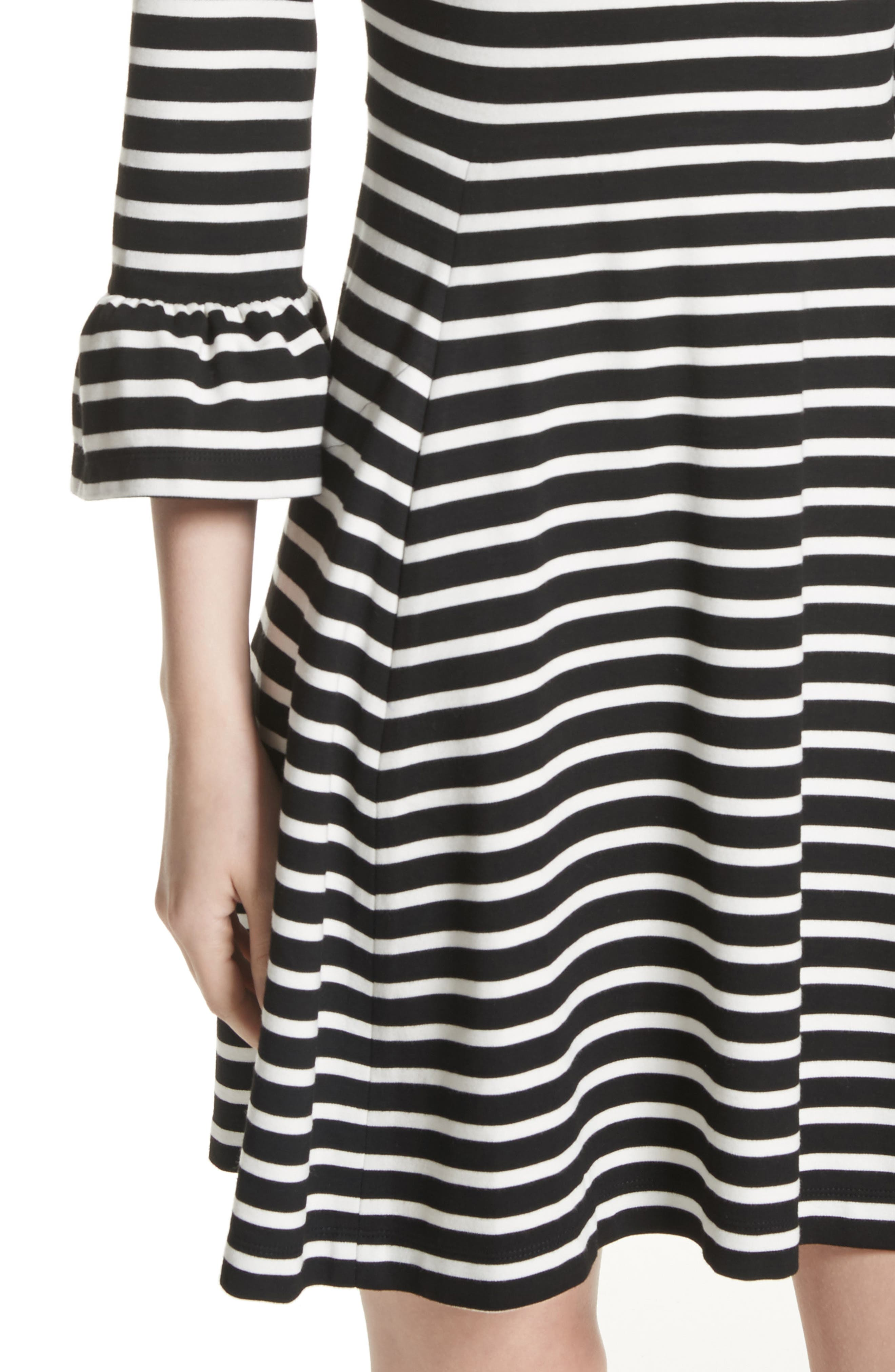 stripe fit-and-flare dress,                             Alternate thumbnail 4, color,                             Ivory