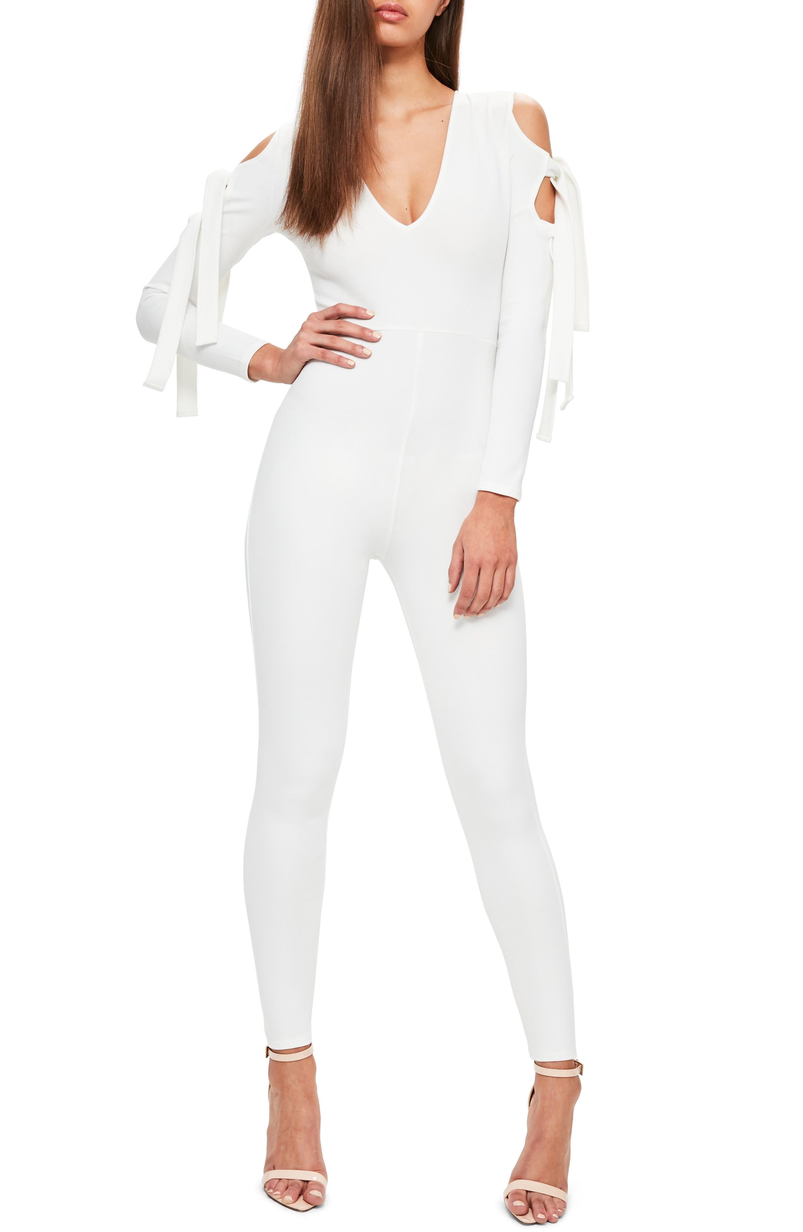 Cold Shoulder Jumpsuit,                         Main,                         color, White