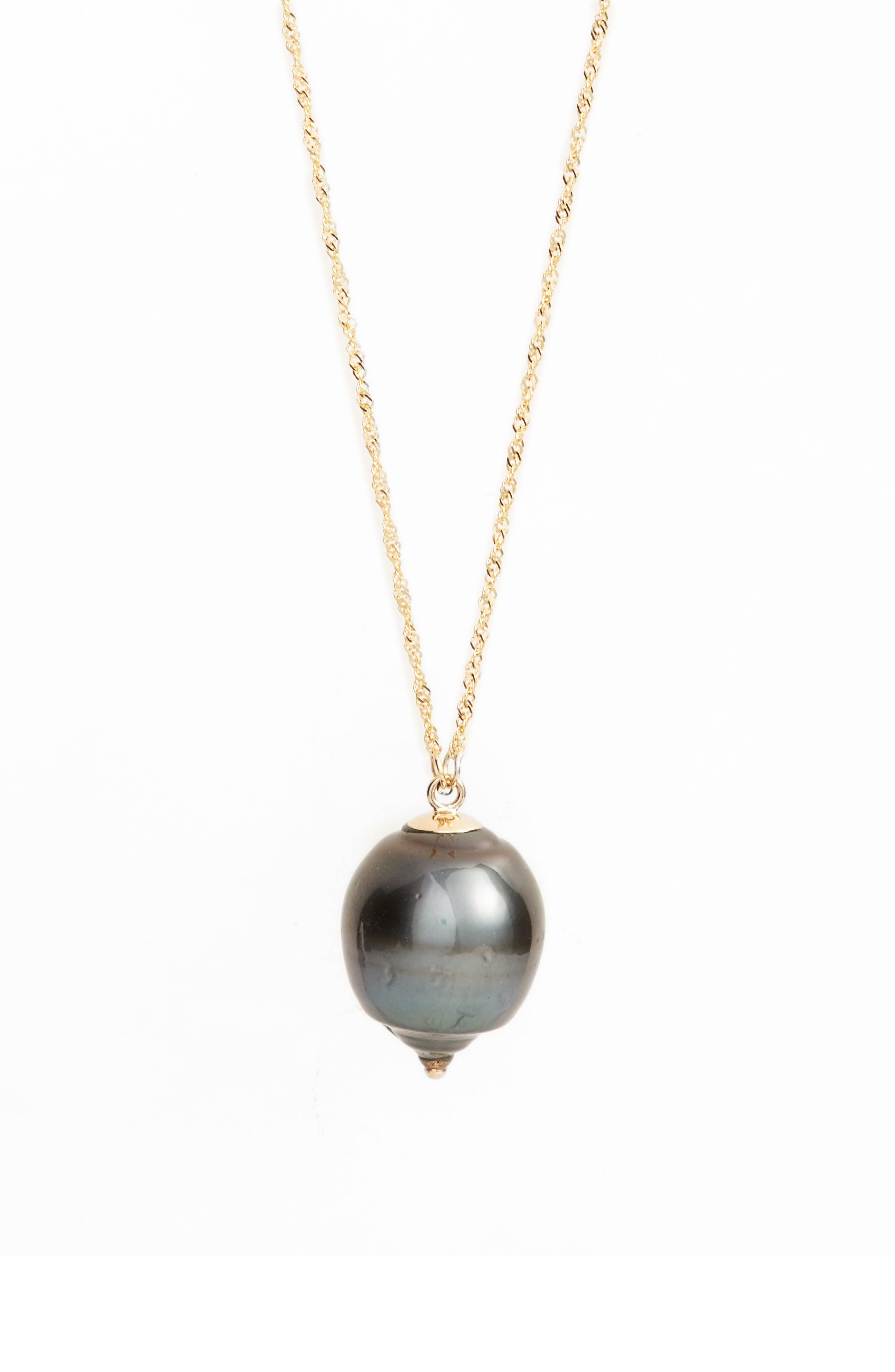 POPPY FINCH Long Pearl Pendant Necklace