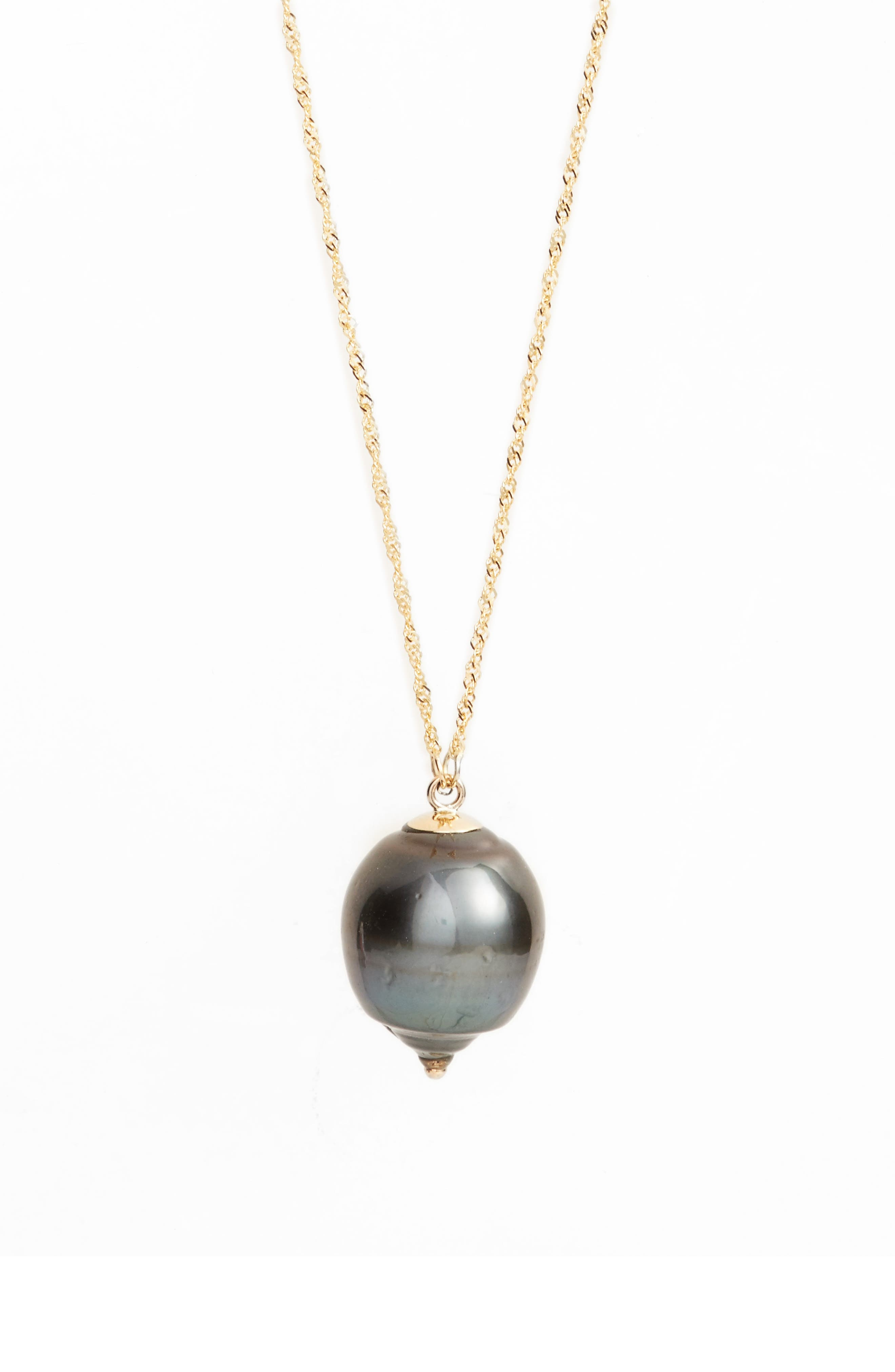 Long Pearl Pendant Necklace,                             Main thumbnail 1, color,                             Yellow Gold/ Black Pearl