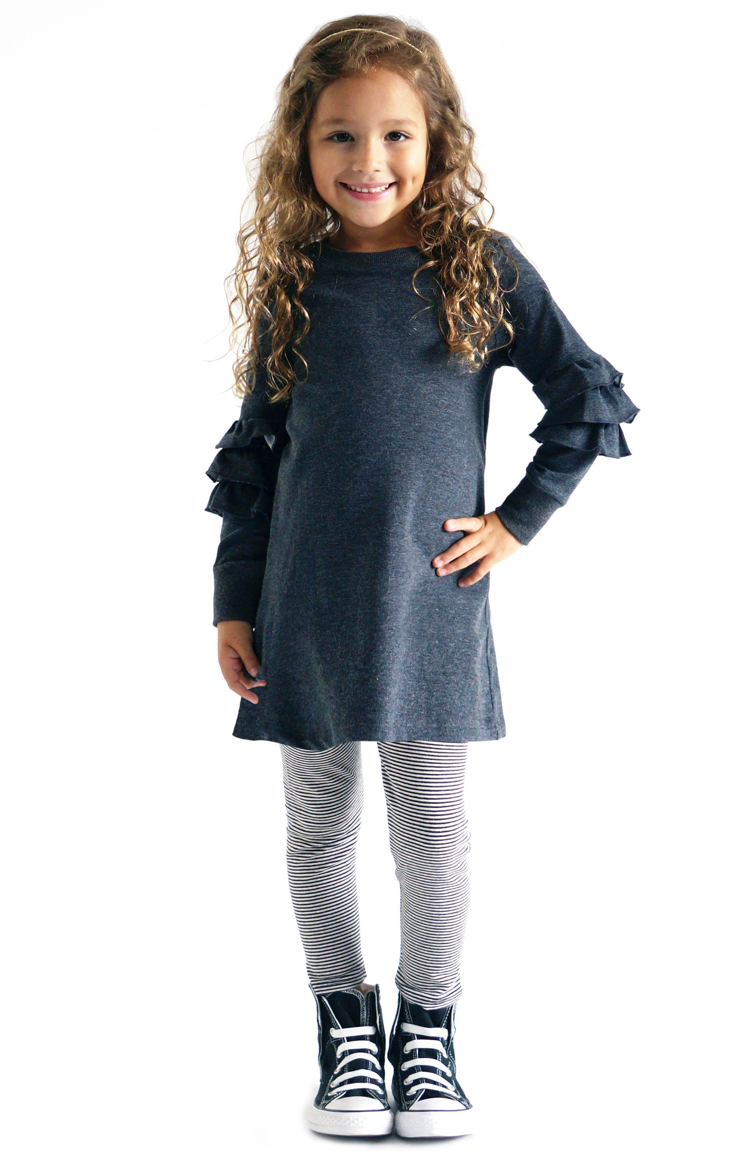 Alternate Image 2  - Truly Me Ruffle Sleeve Sweatshirt (Toddler Girls & Little Girls)