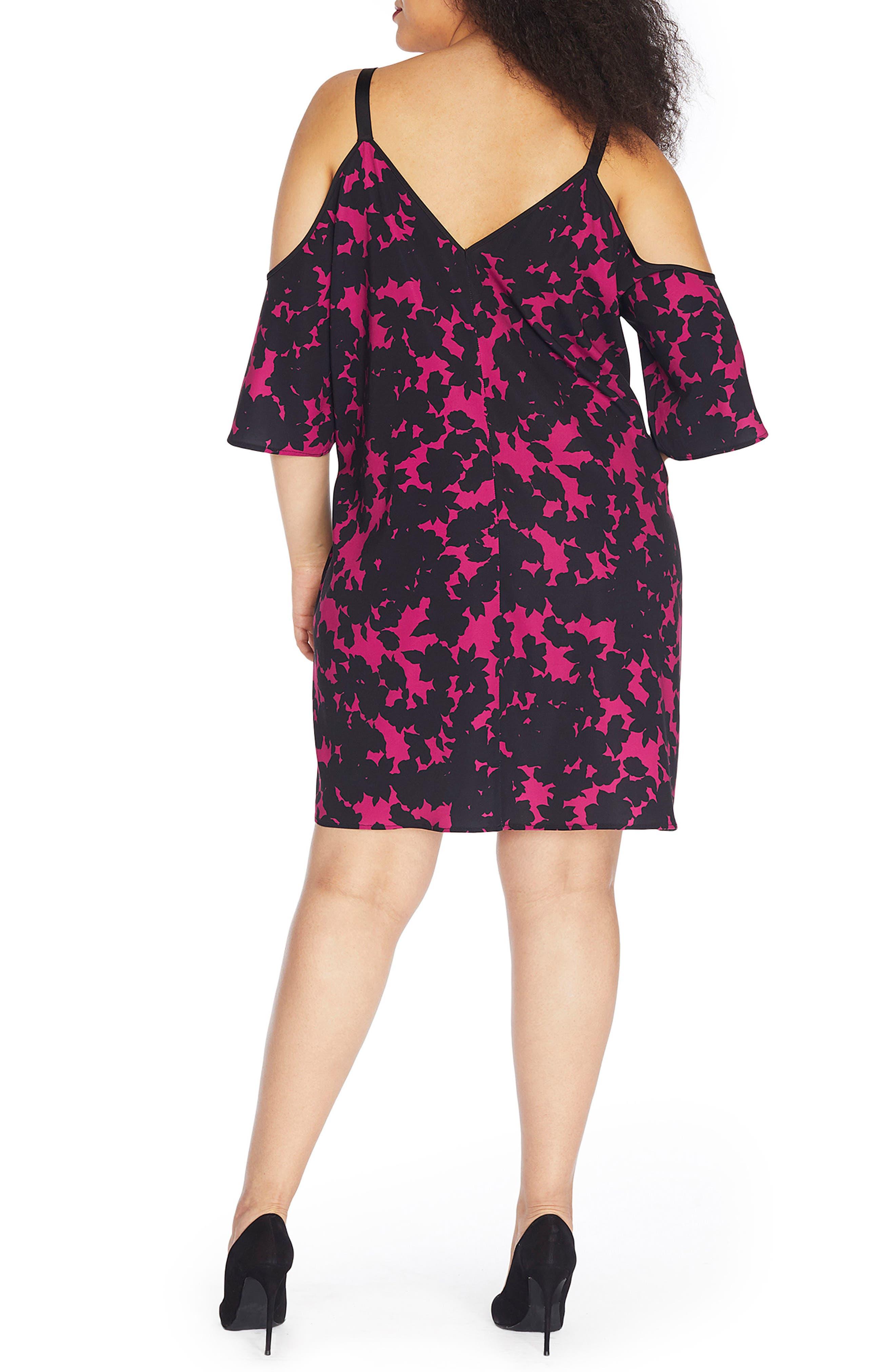 Cold Shoulder Crepe Dress,                             Alternate thumbnail 2, color,                             Blackout Floral