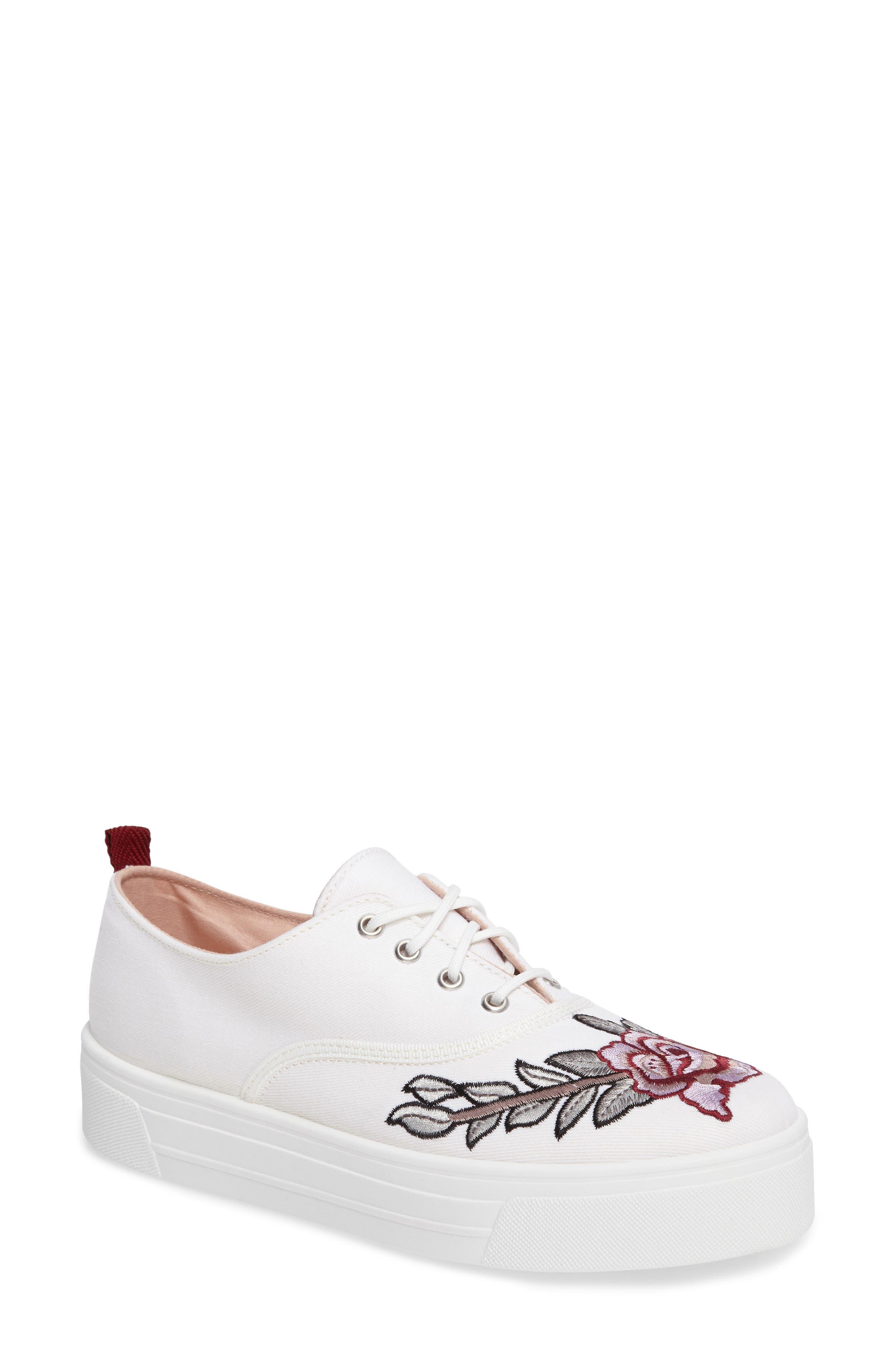 Topshop College Embroidered Flatform Sneaker (Women)