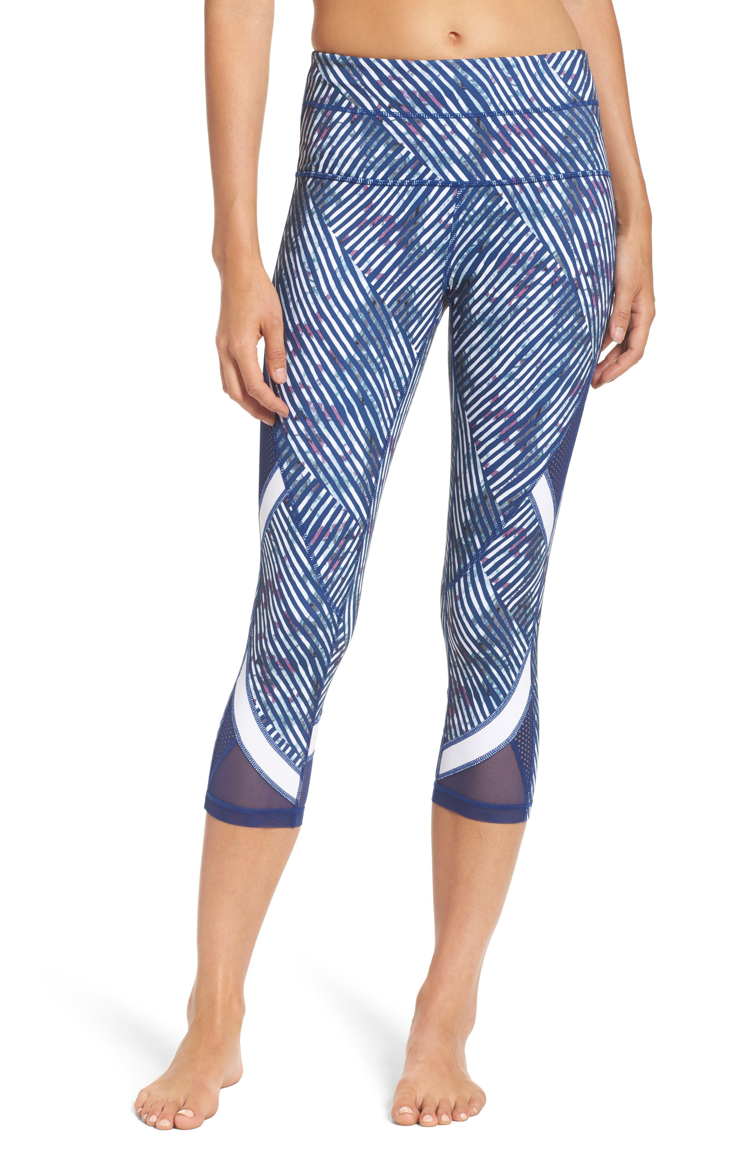 Mesh-Up High Waist Crop Leggings,                         Main,                         color, Blue Depths Diagonal Print