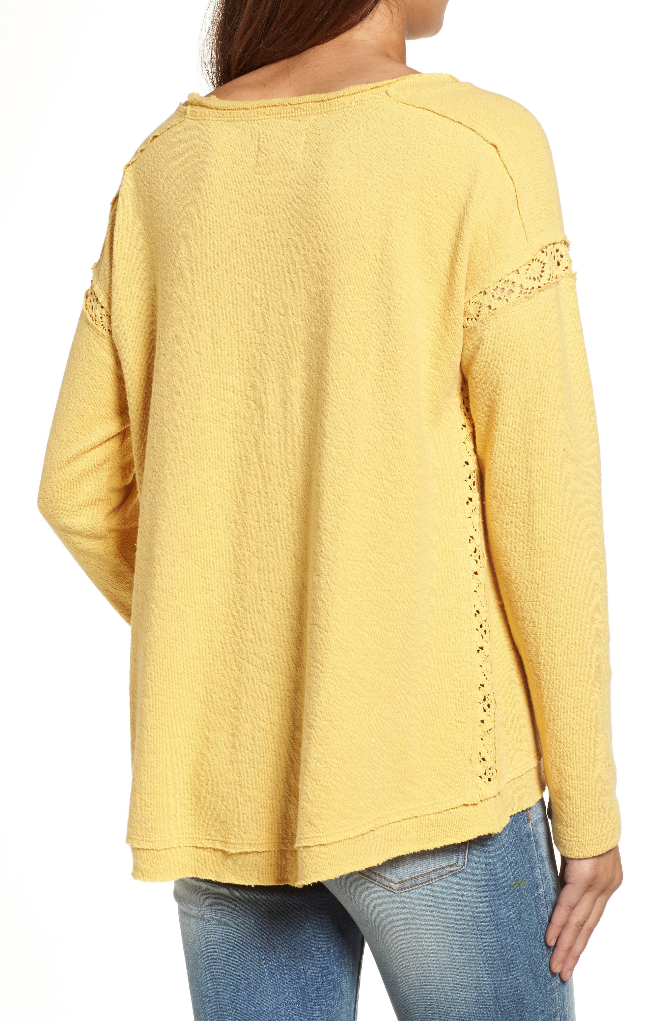 Alternate Image 2  - Caslon® Crochet Lace Trim Sweatshirt