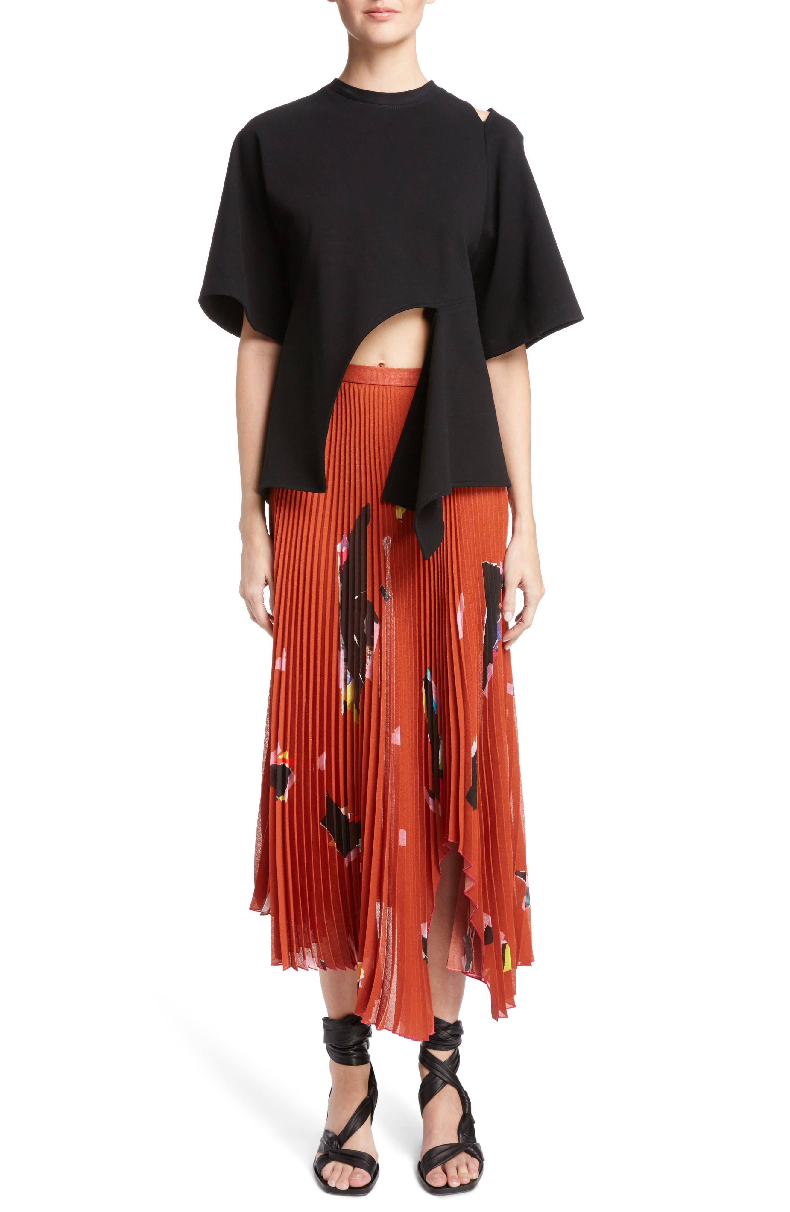 Asymmetrical Pleated Skirt,                             Alternate thumbnail 6, color,                             Orange