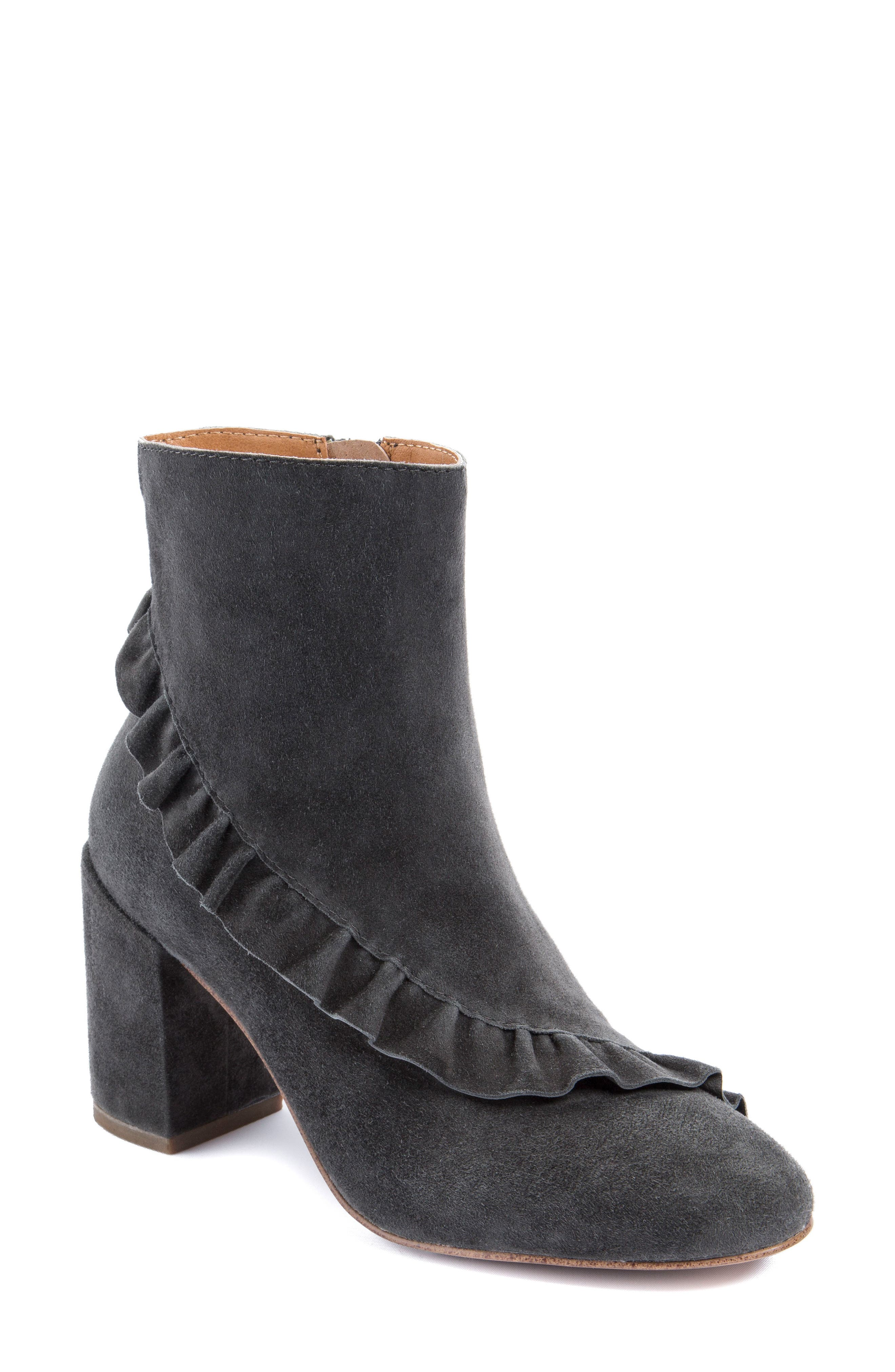 Kahlia Ruffle Bootie,                             Main thumbnail 1, color,                             Stone Suede