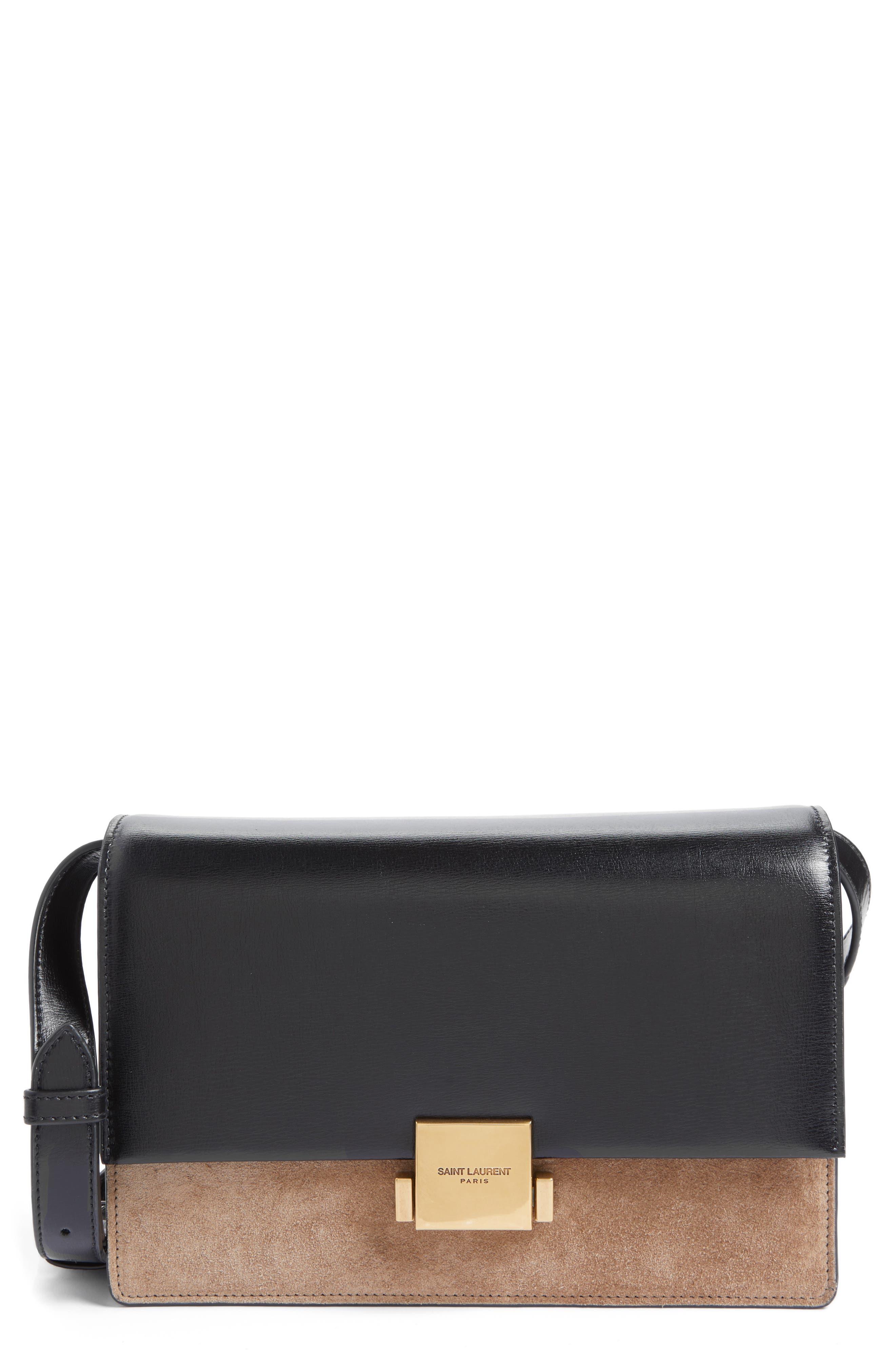 Main Image - Saint Laurent Medium Bellechasse Suede & Leather Shoulder Bag