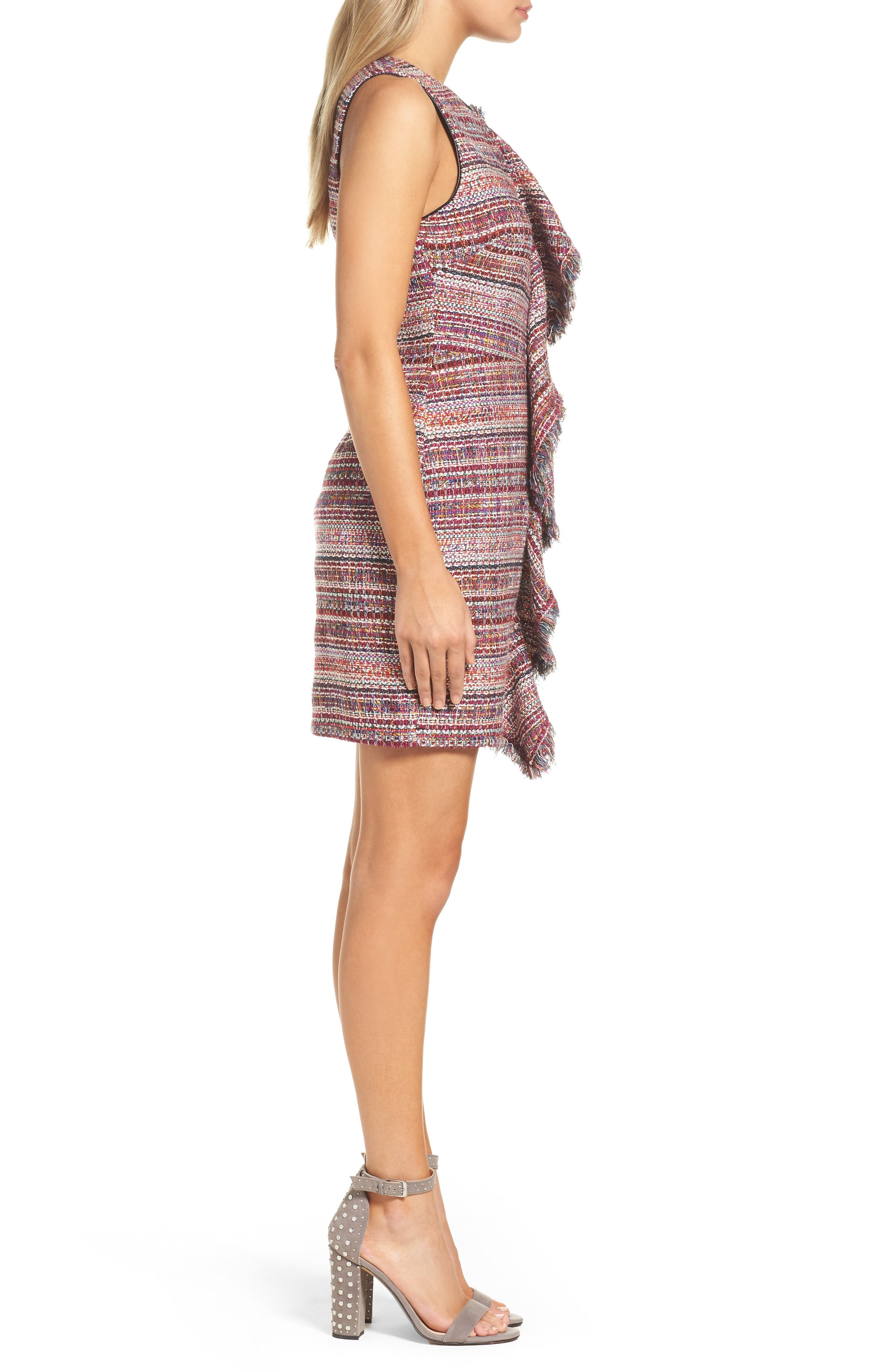 Jamie Ruffle Jacquard Sheath Dress,                             Alternate thumbnail 3, color,                             Magenta Multi