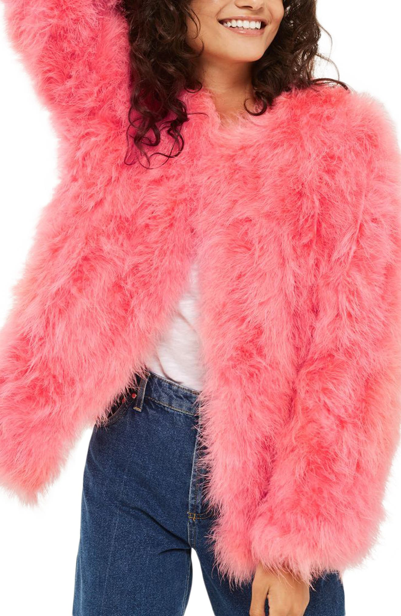 Marabou Feather Jacket,                             Alternate thumbnail 3, color,                             Pink