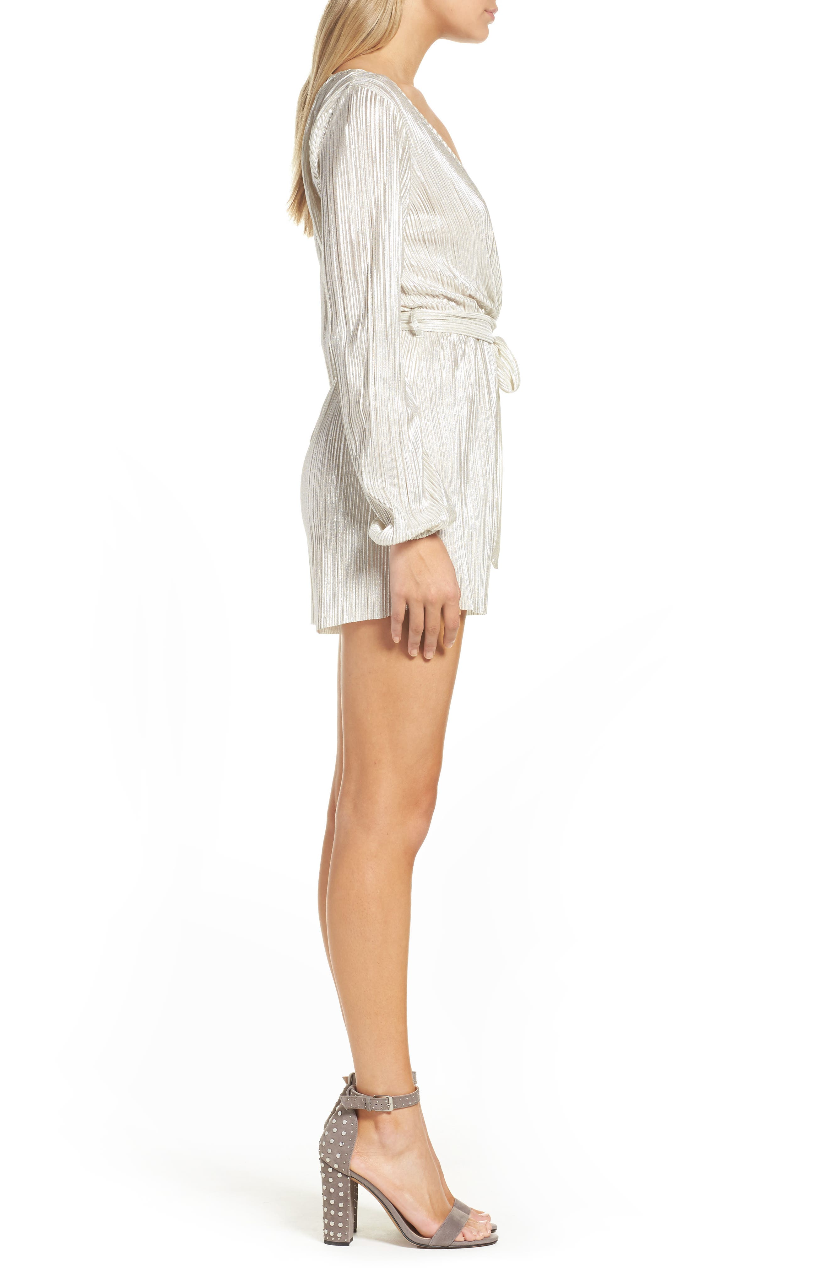 Ziggy Pleated Romper,                             Alternate thumbnail 3, color,                             Silver