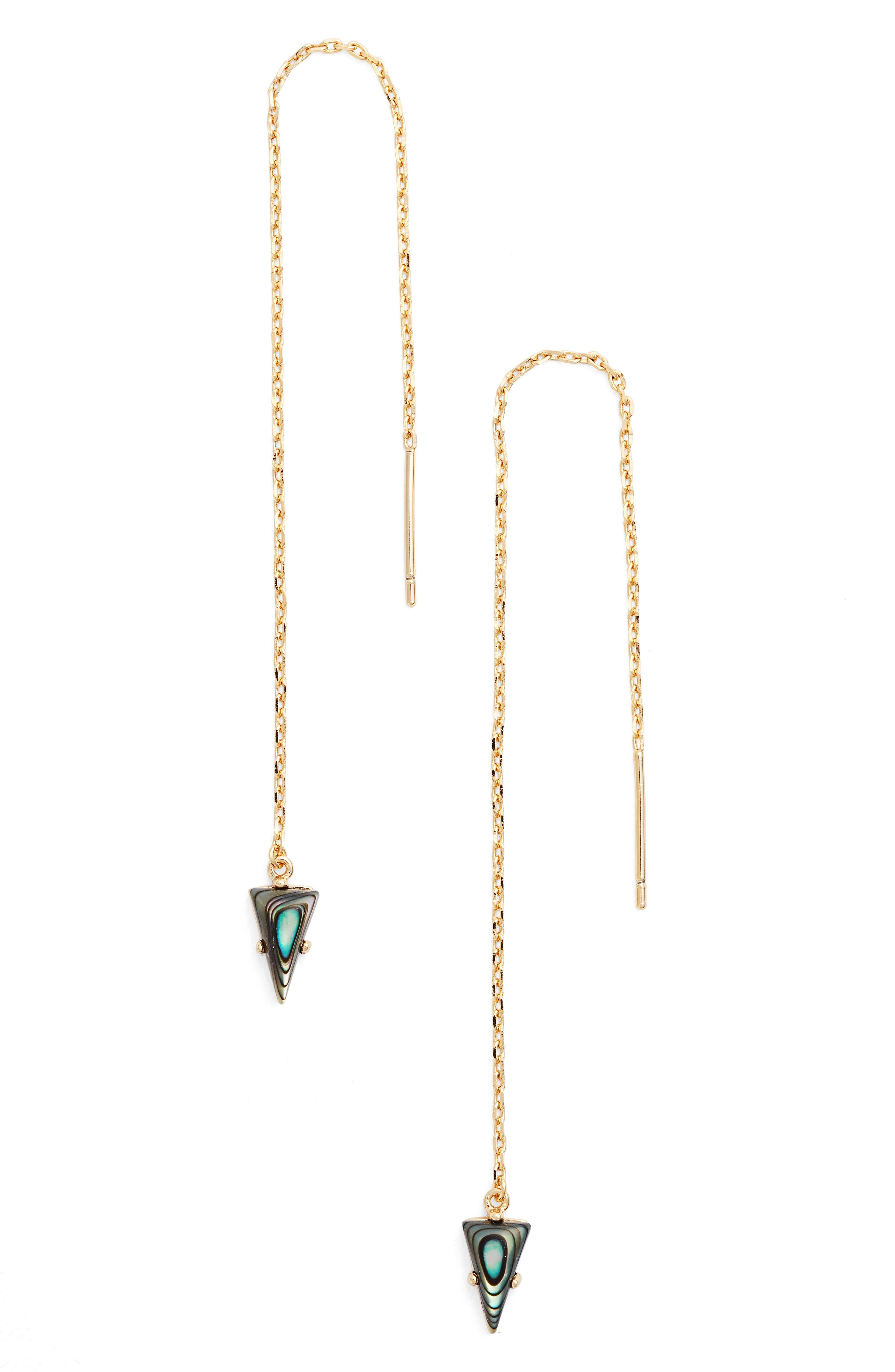 Triangle Gem Threader Earrings,                             Main thumbnail 1, color,                             Yellow Gold/ Abalone