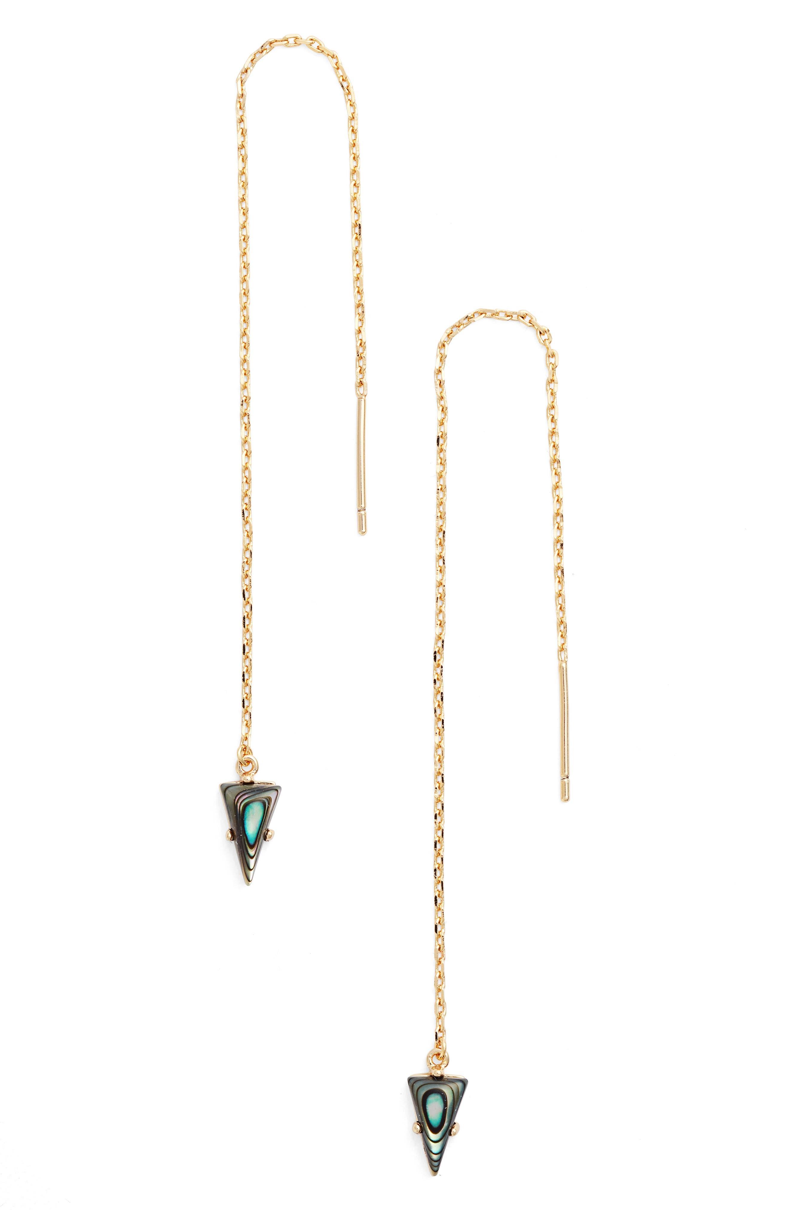 Jules Smith Triangle Gem Threader Earrings