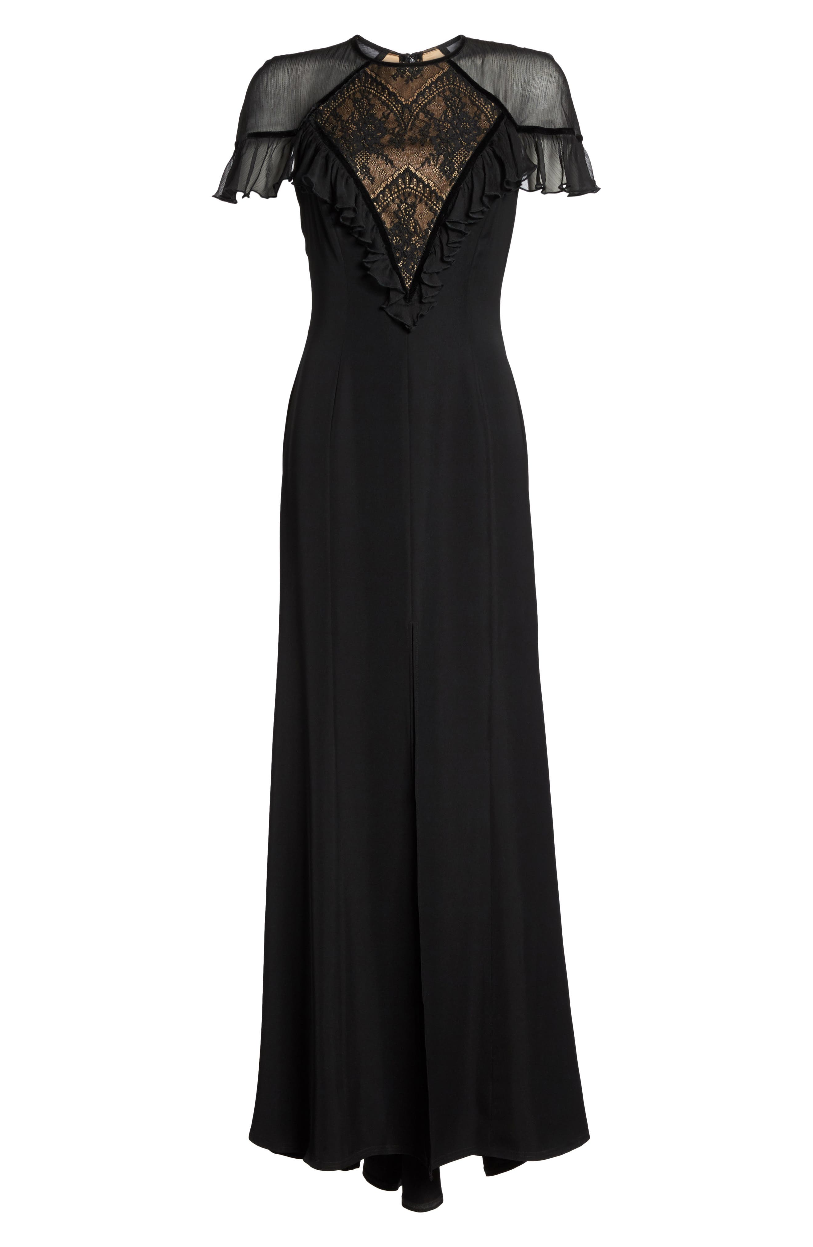 Lace Inset Crepe Gown,                             Alternate thumbnail 6, color,                             Black/ Nude