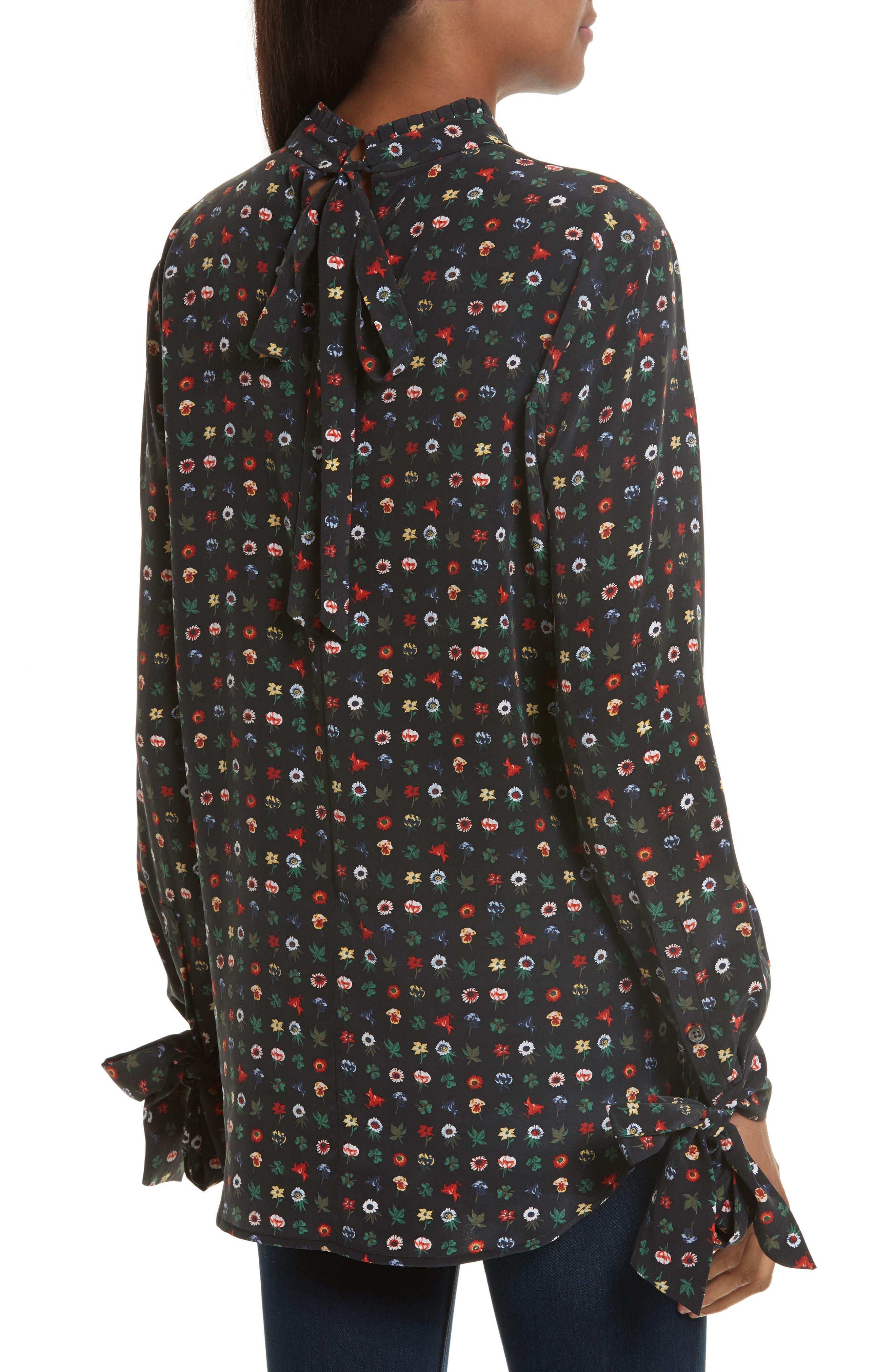 Alternate Image 2  - Equipment Aurora Tie Sleeve Floral Silk Blouse
