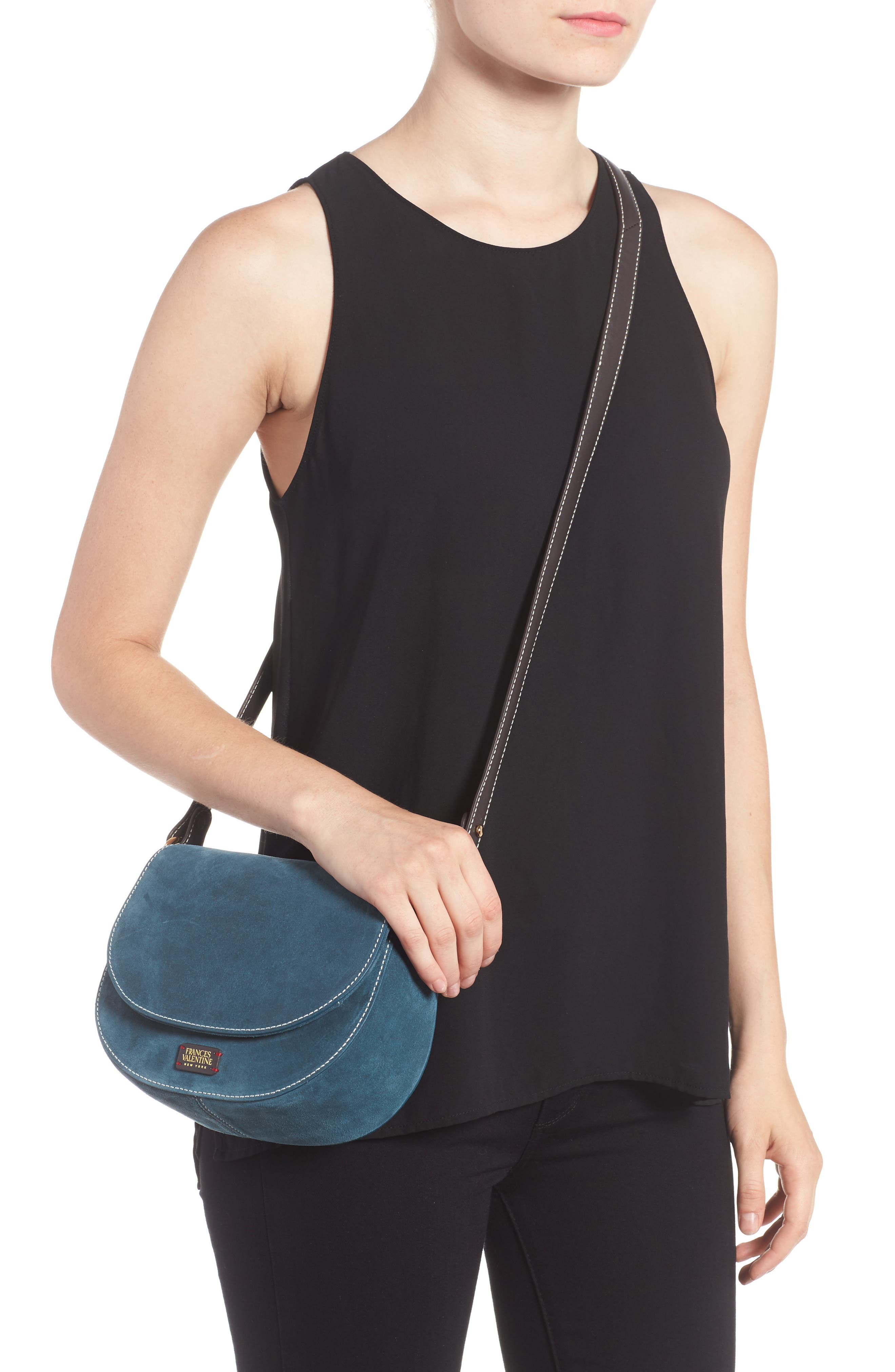 Mini Ellen Suede Crossbody Bag,                             Alternate thumbnail 2, color,                             Dark Teal