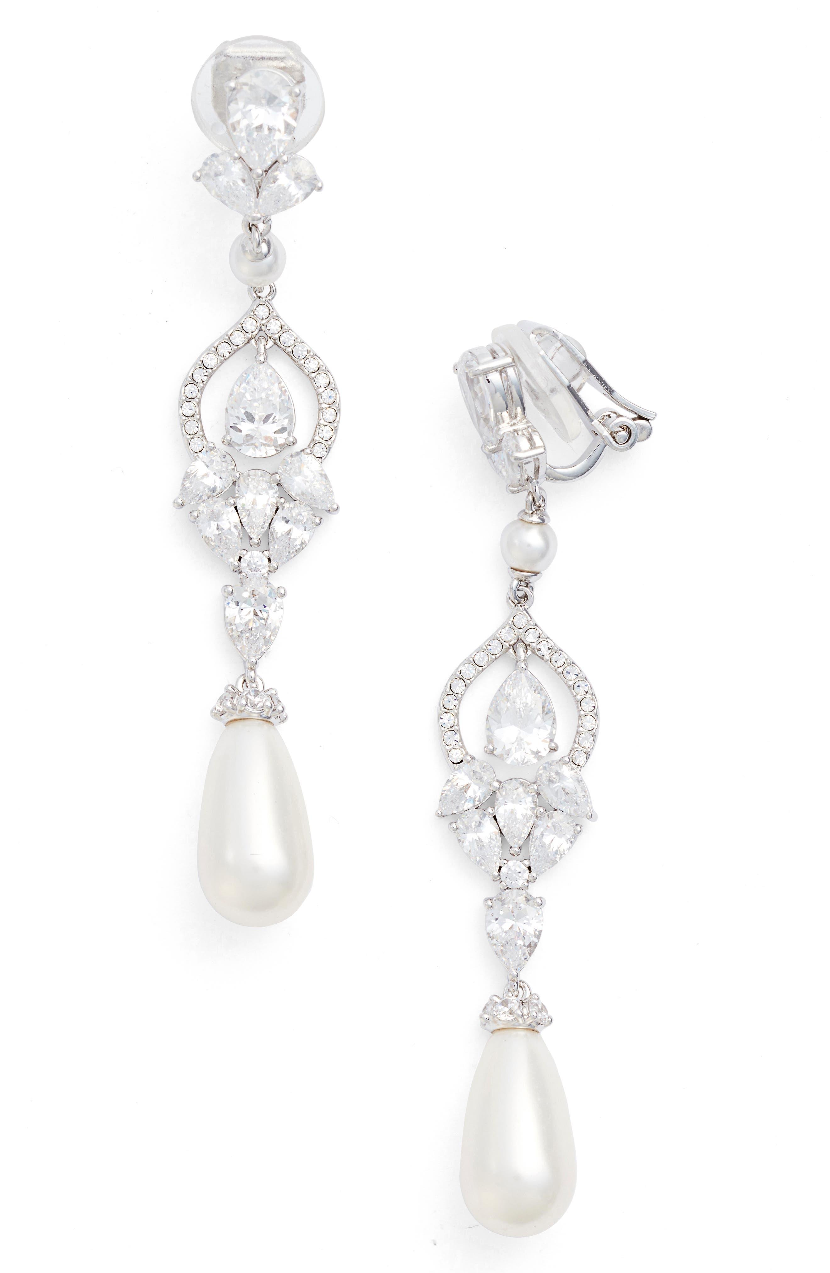 Nadri Cubic Zirconia Clip Drop Earrings In Silver