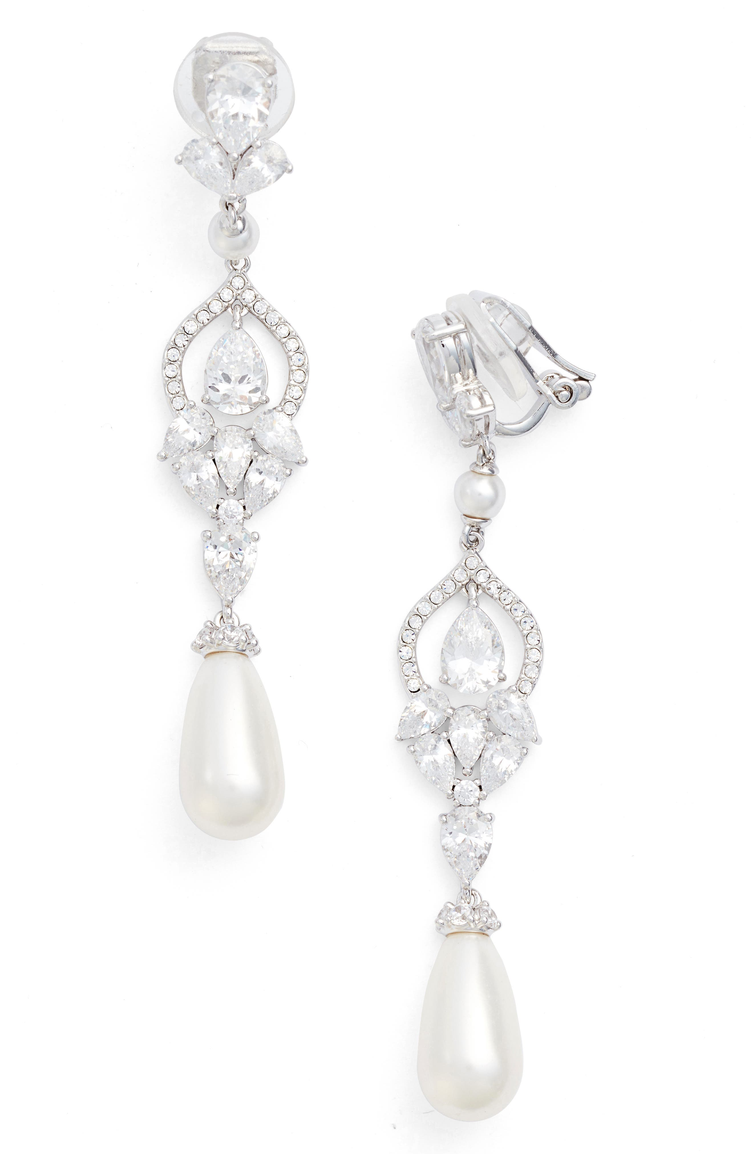 Cubic ZIrconia Clip Drop Earrings,                         Main,                         color, Silver