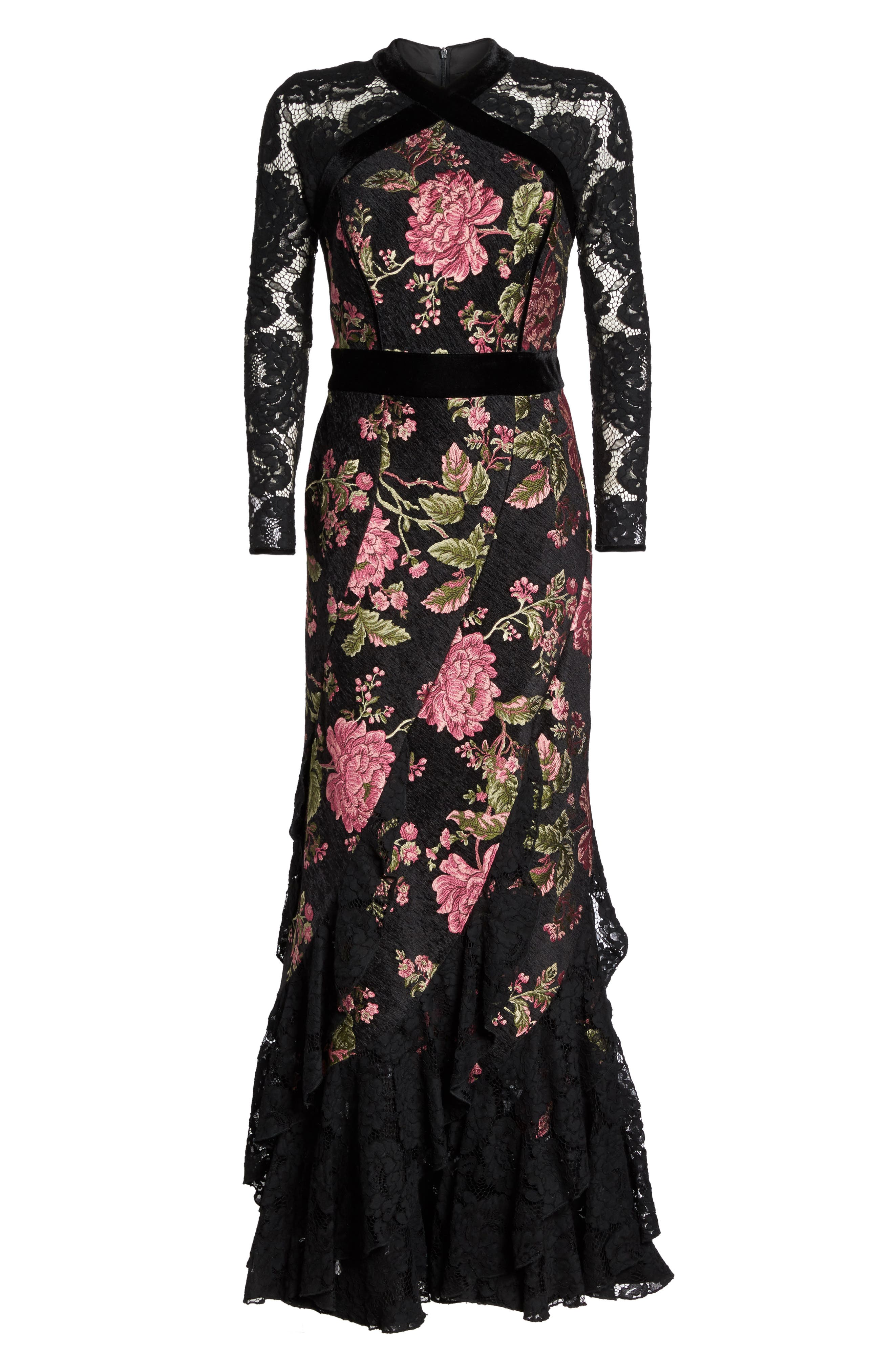 Lace & Brocade Mermaid Gown,                             Alternate thumbnail 6, color,                             Black
