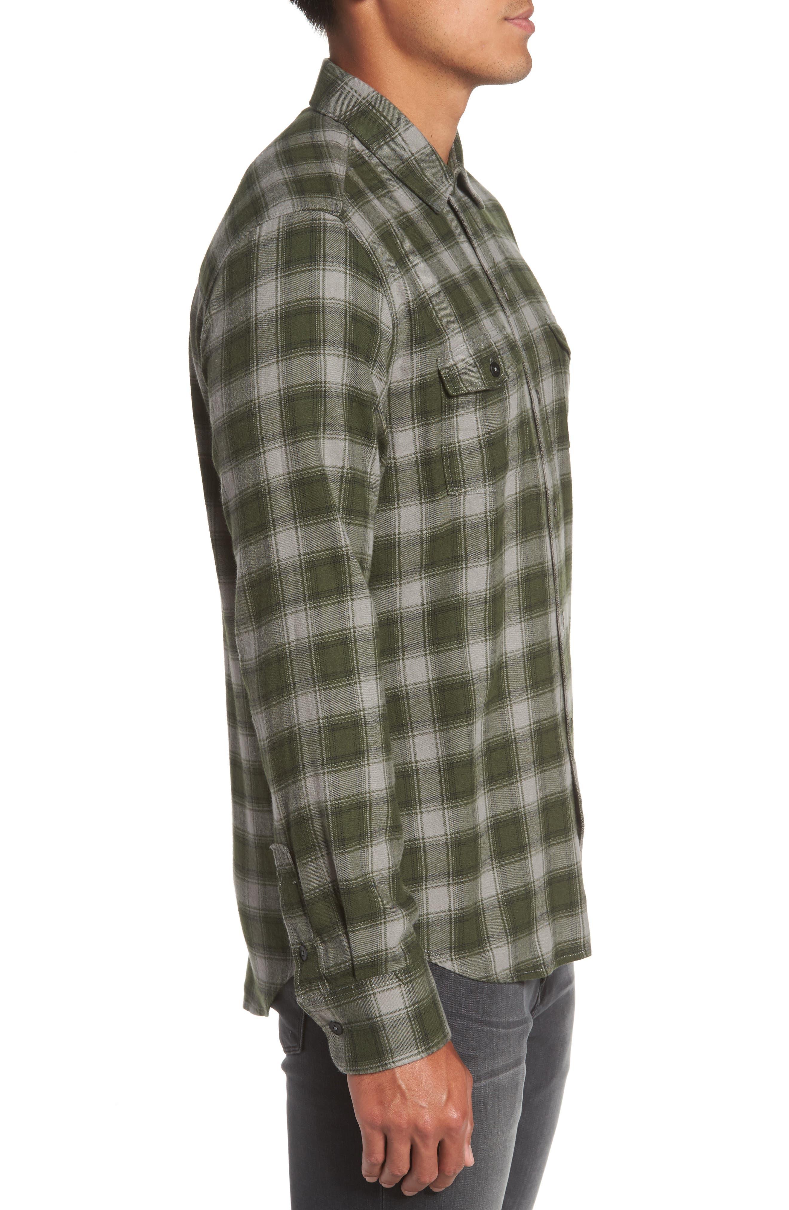 Everett Plaid Sport Shirt,                             Alternate thumbnail 3, color,                             Green Dusk